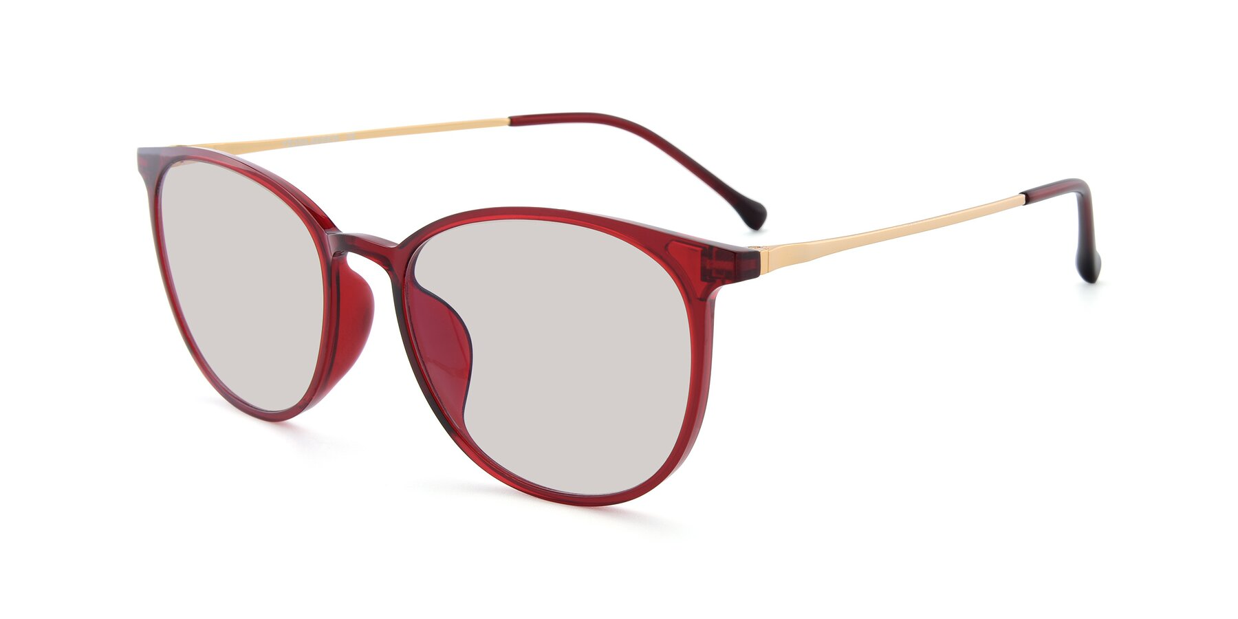 Angle of XC-6006 in Wine-Gold with Light Brown Tinted Lenses