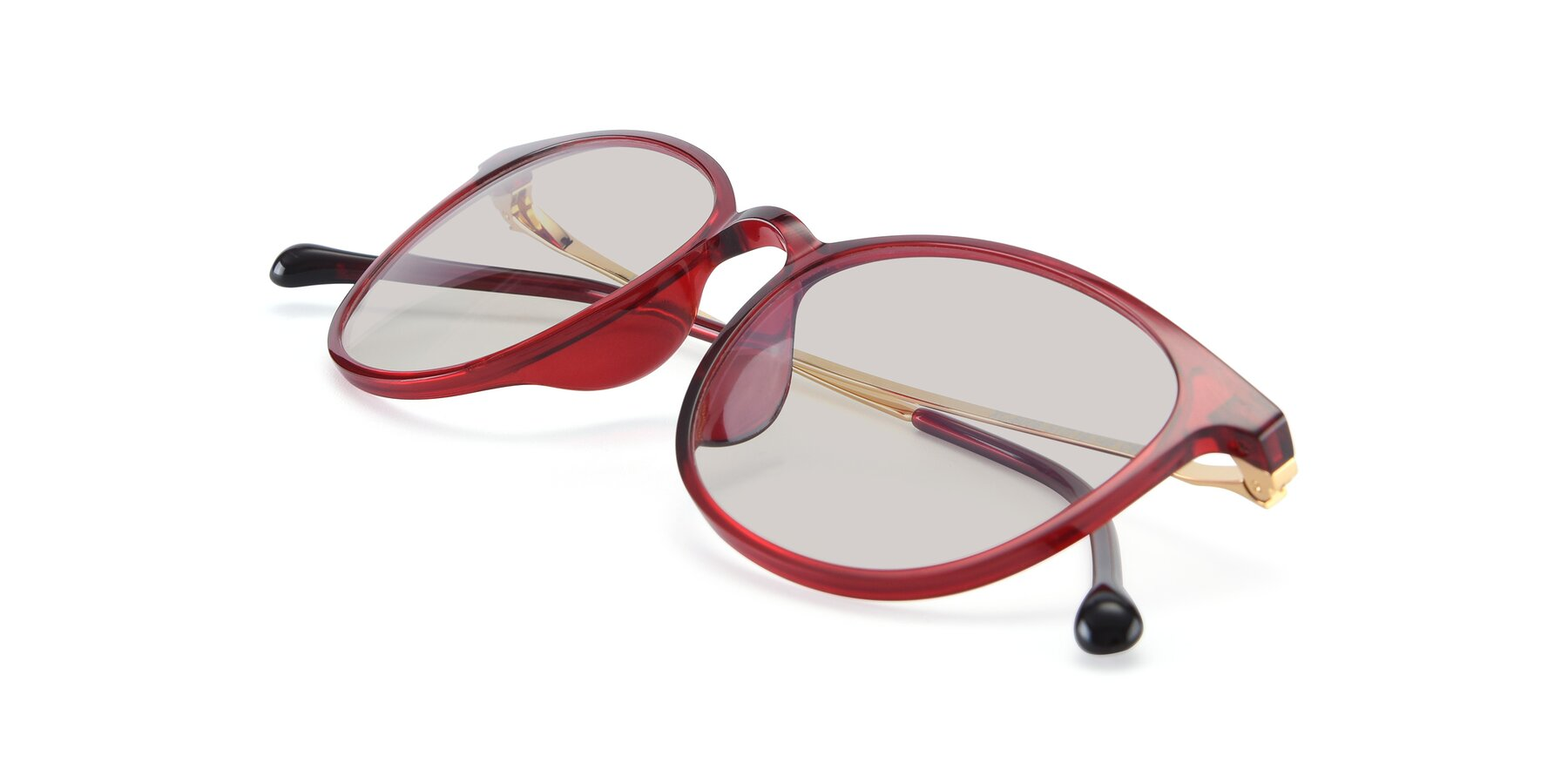 View of XC-6006 in Wine-Gold with Light Brown Tinted Lenses