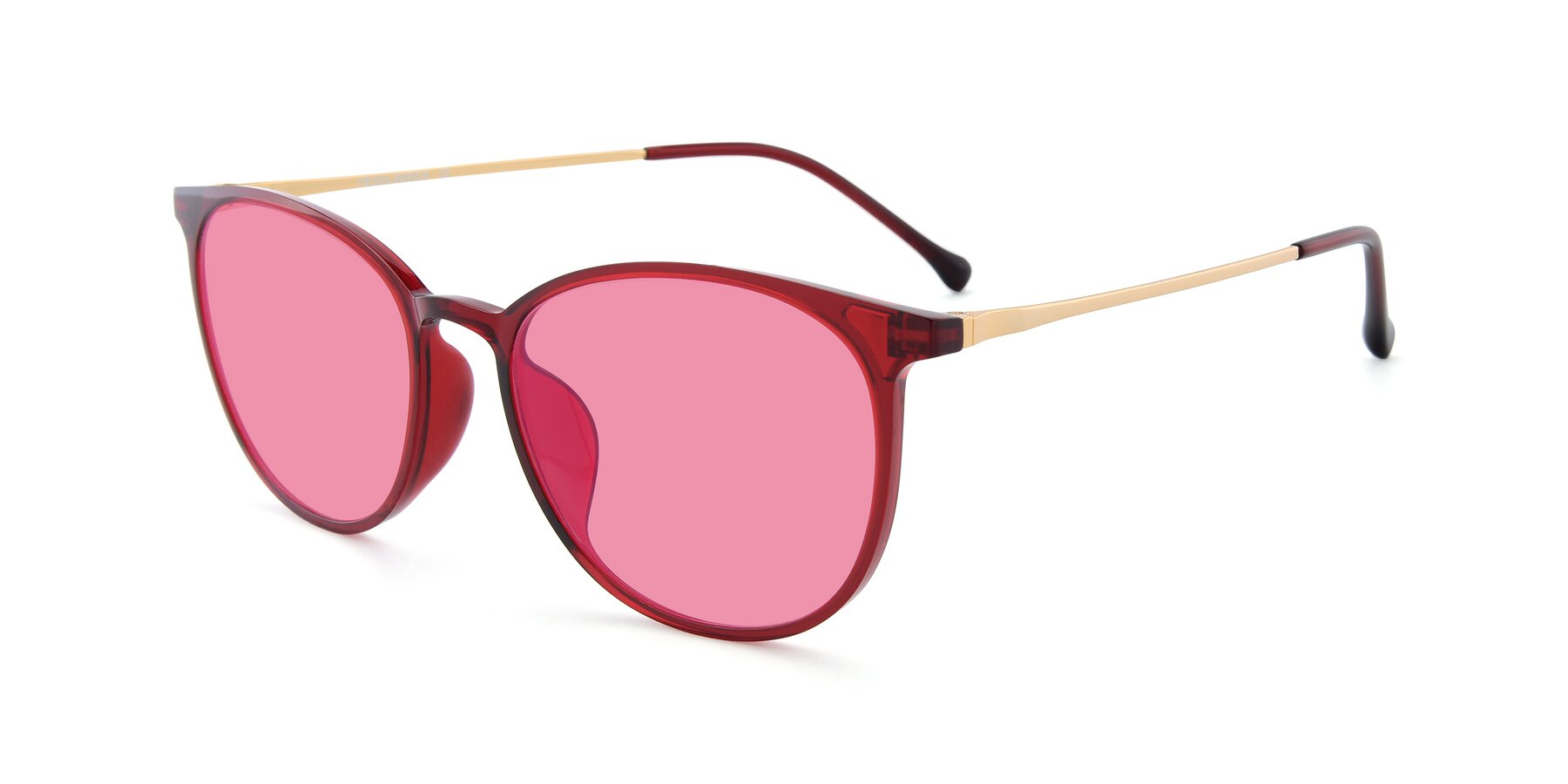 Angle of XC-6006 in Wine-Gold with Pink Tinted Lenses