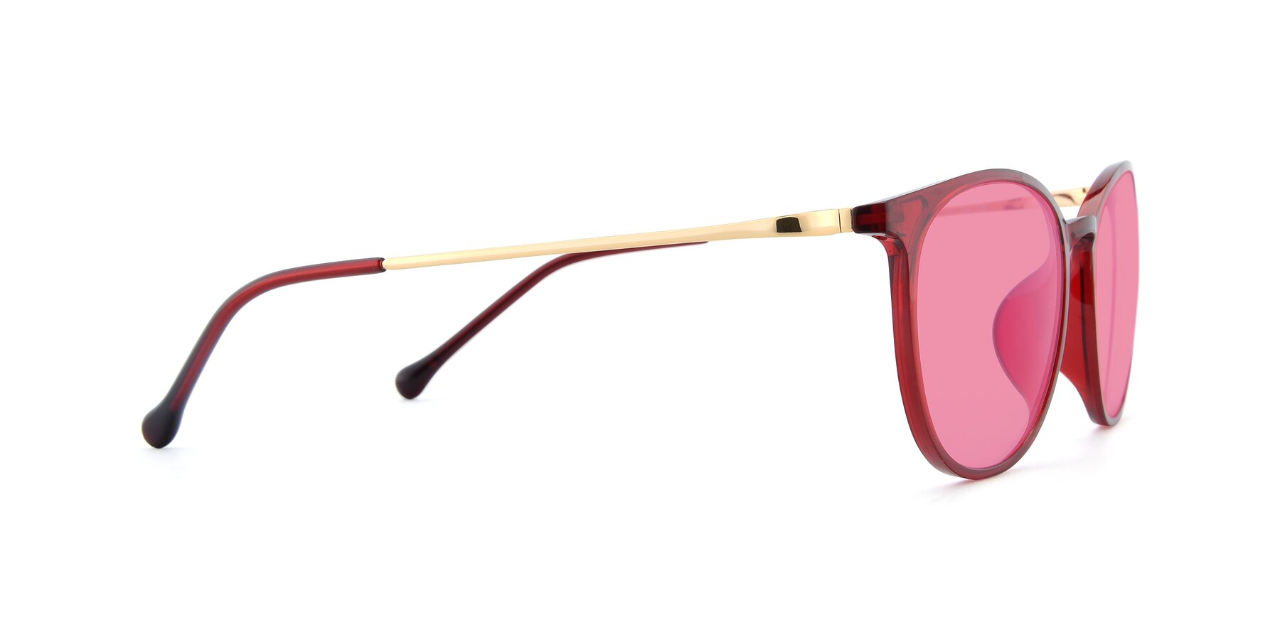 Side of XC-6006 in Wine-Gold with Pink Tinted Lenses