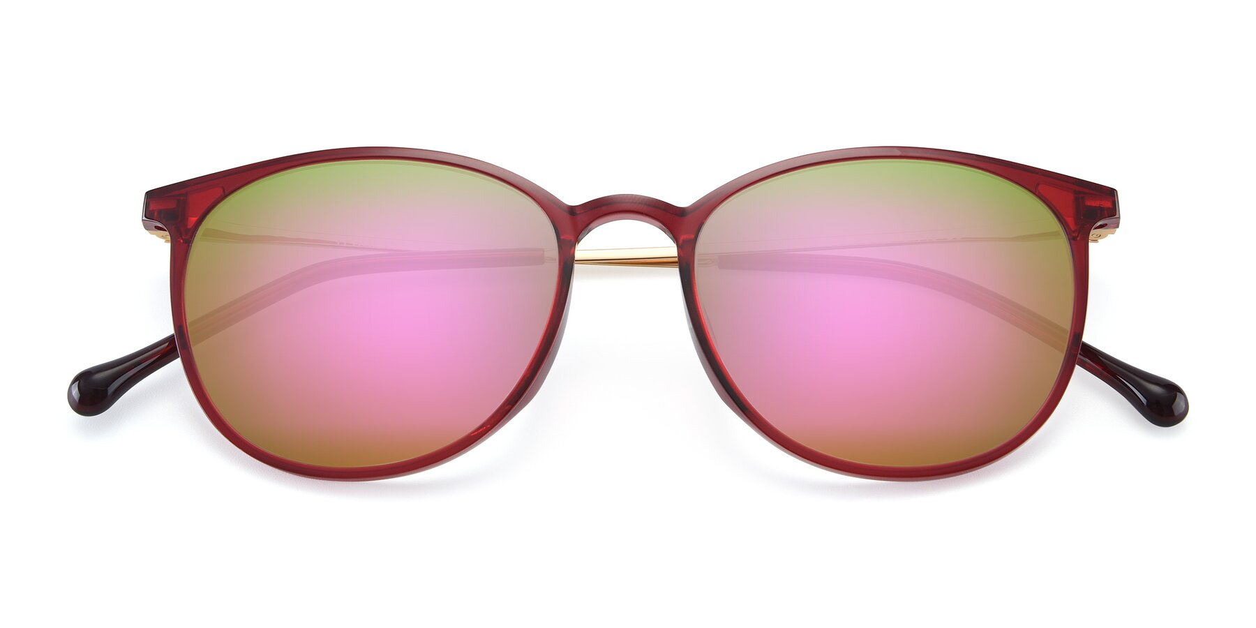 Folded Front of XC-6006 in Wine-Gold with Pink Mirrored Lenses