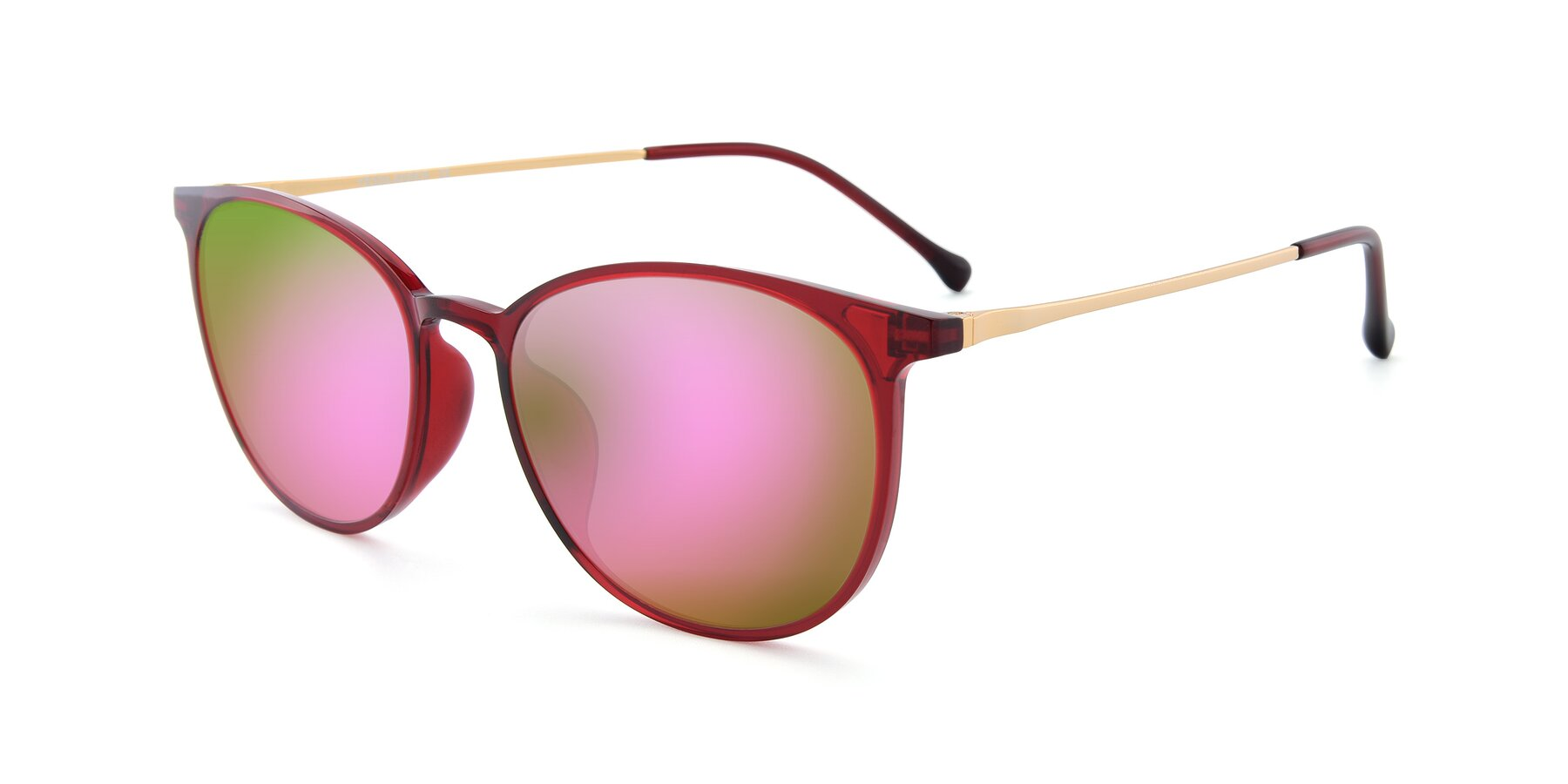 Angle of XC-6006 in Wine-Gold with Pink Mirrored Lenses