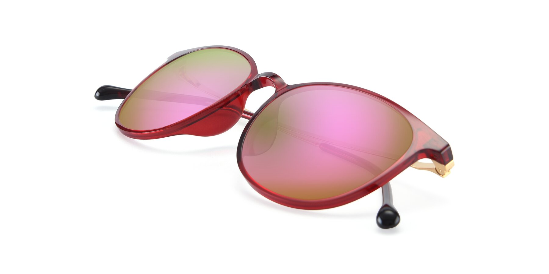 View of XC-6006 in Wine-Gold with Pink Mirrored Lenses