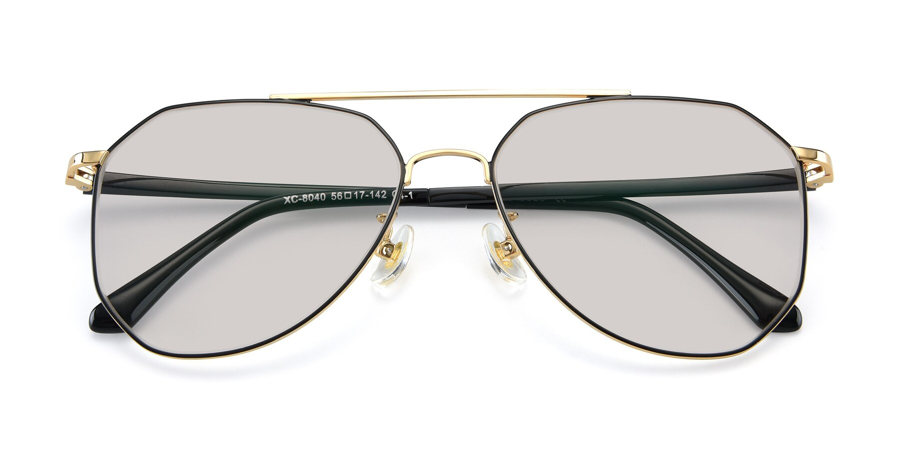 Folded Front of XC-8040 in Black/ Gold with Light Brown Tinted Lenses