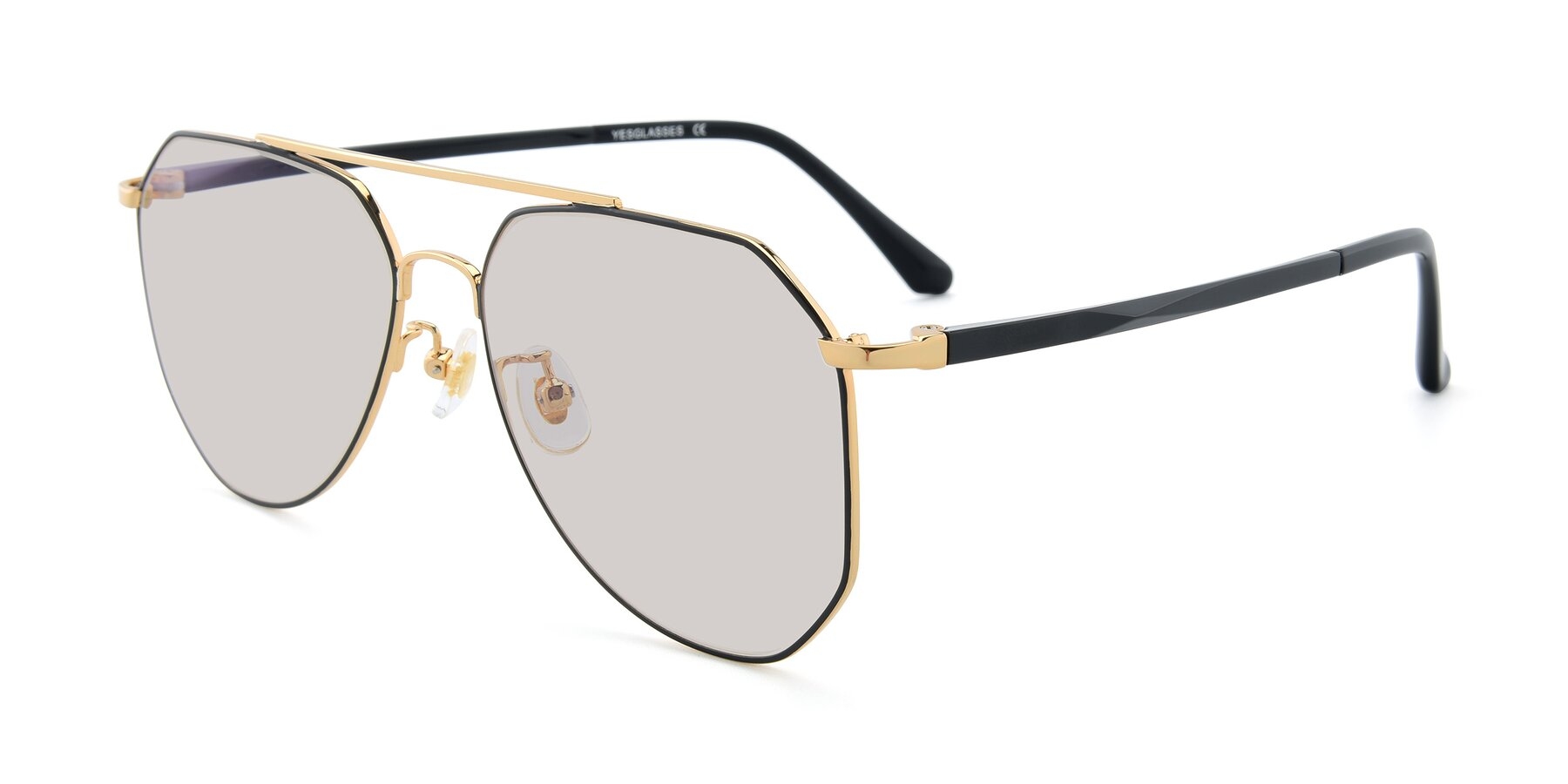 Angle of XC-8040 in Black/ Gold with Light Brown Tinted Lenses