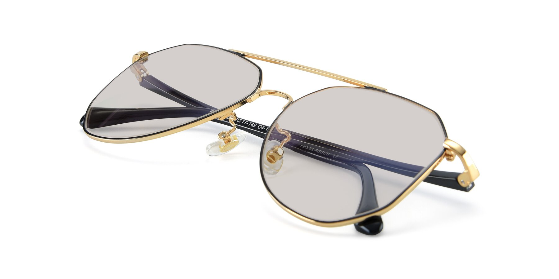View of XC-8040 in Black/ Gold with Light Brown Tinted Lenses