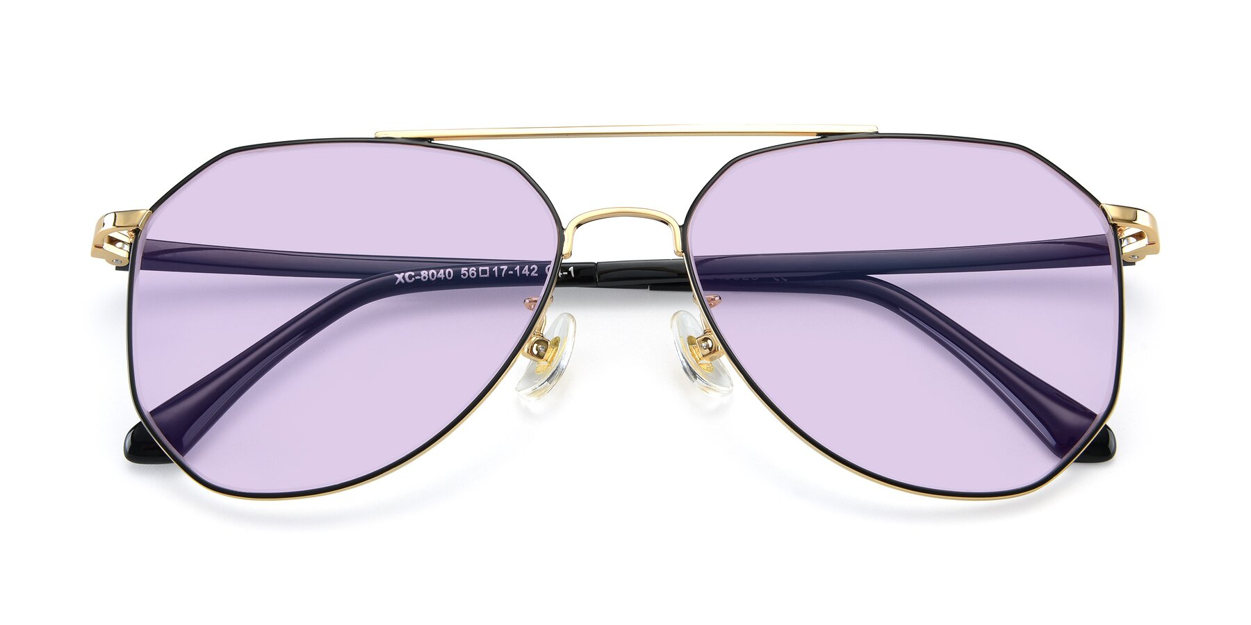 Folded Front of XC-8040 in Black/ Gold with Light Purple Tinted Lenses
