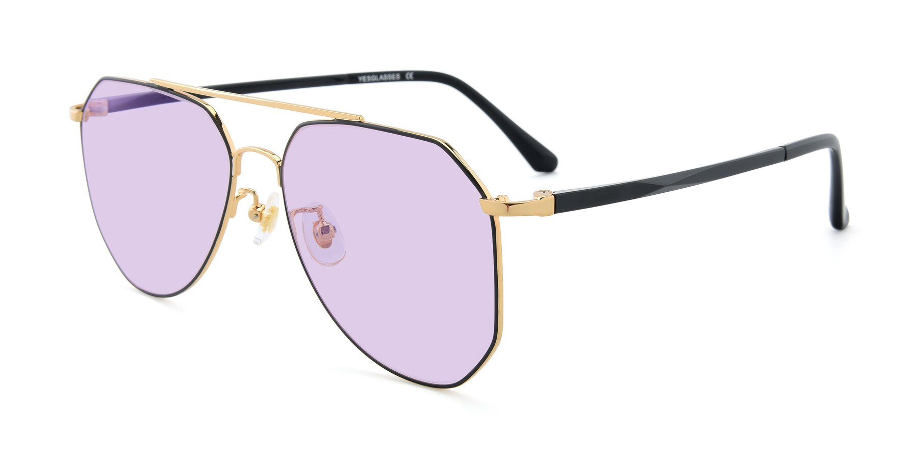 Angle of XC-8040 in Black/ Gold with Light Purple Tinted Lenses