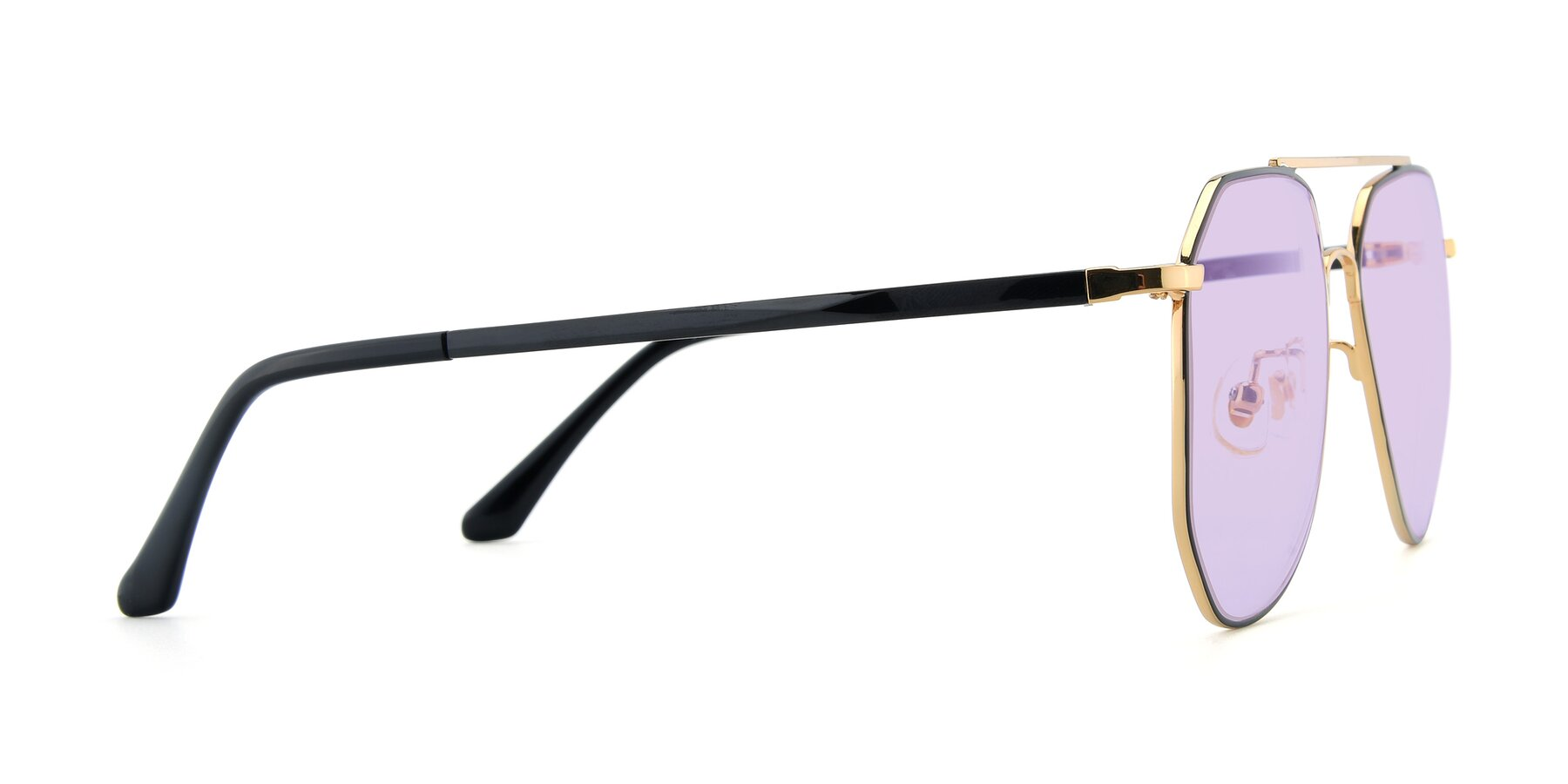 Side of XC-8040 in Black/ Gold with Light Purple Tinted Lenses