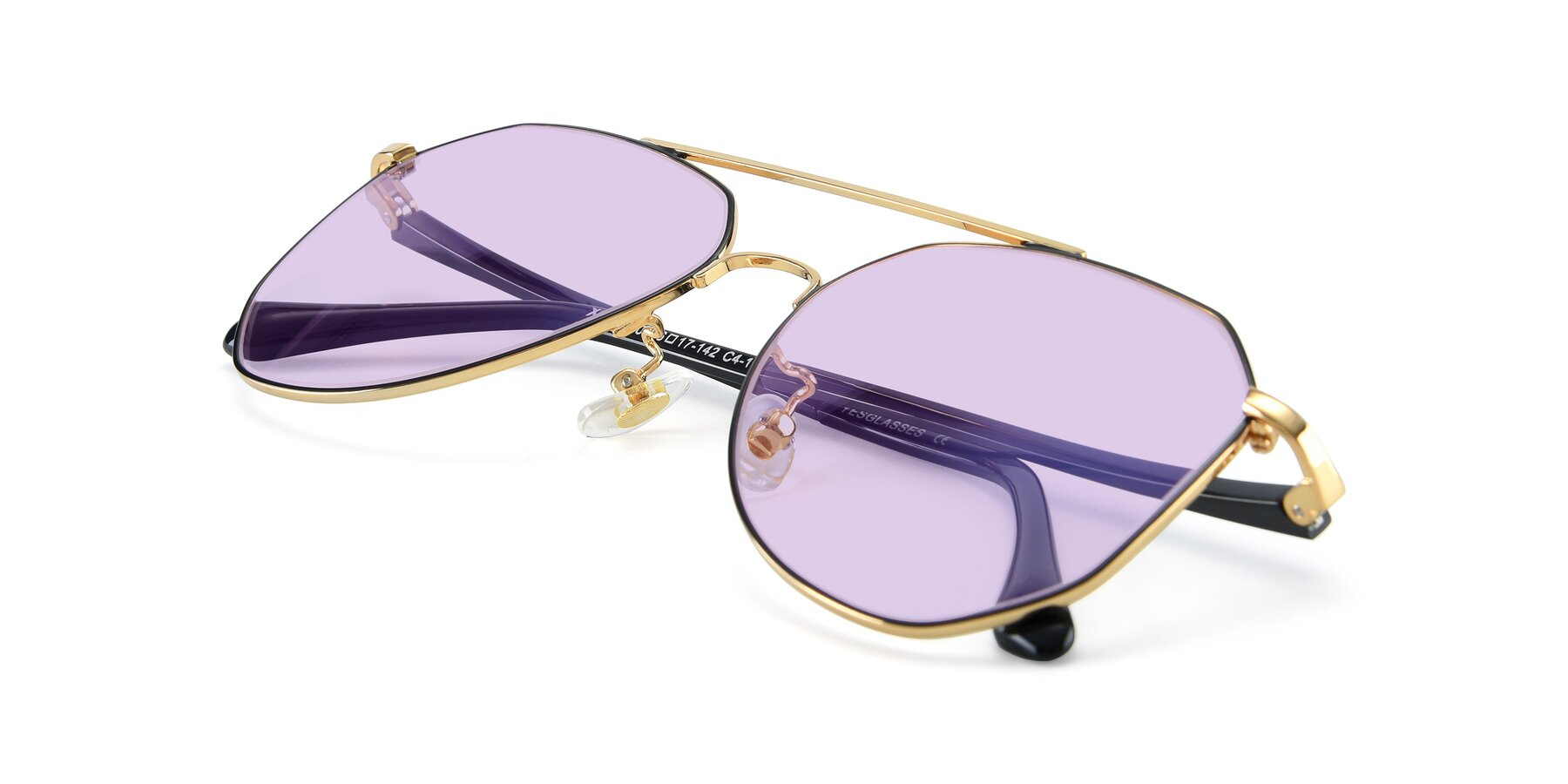 View of XC-8040 in Black/ Gold with Light Purple Tinted Lenses