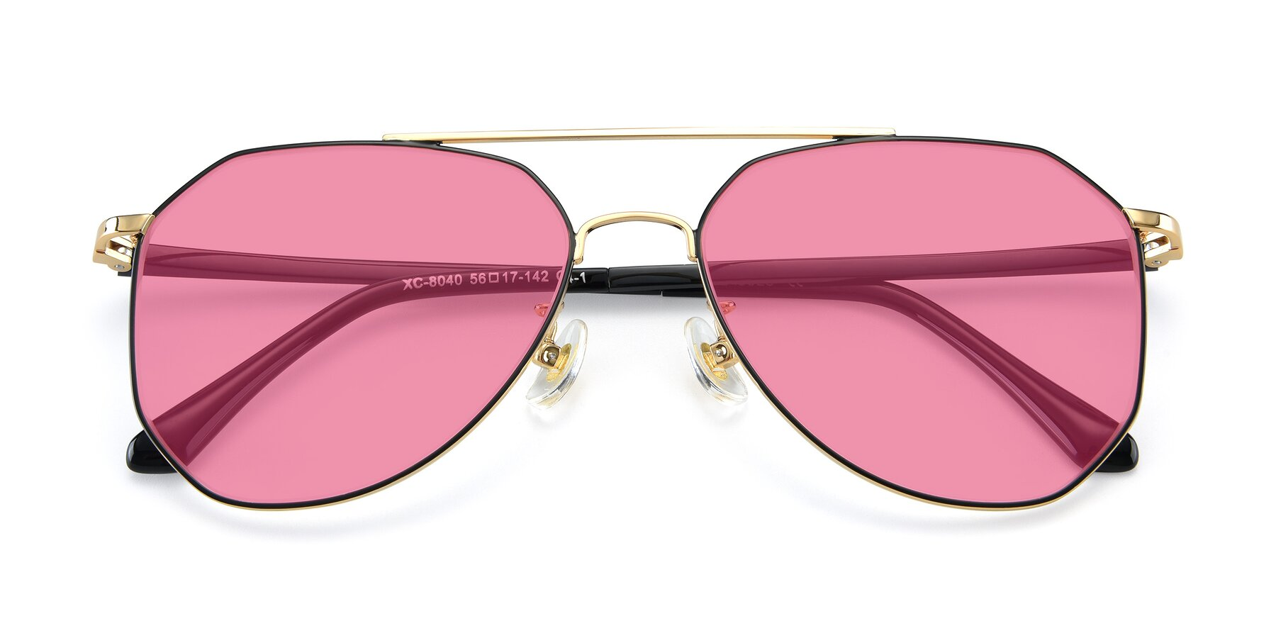 Folded Front of XC-8040 in Black/ Gold with Pink Tinted Lenses
