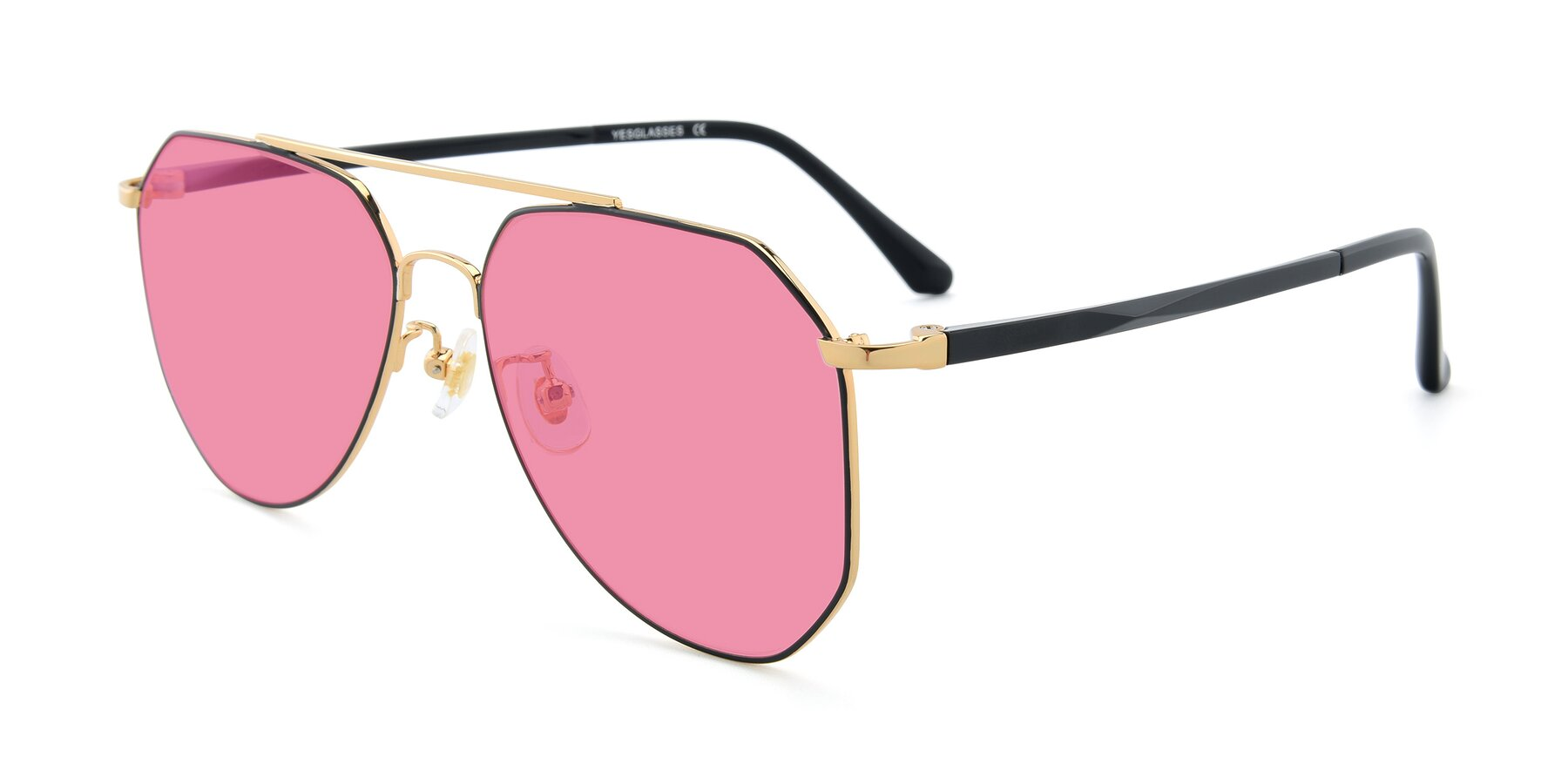 Angle of XC-8040 in Black/ Gold with Pink Tinted Lenses