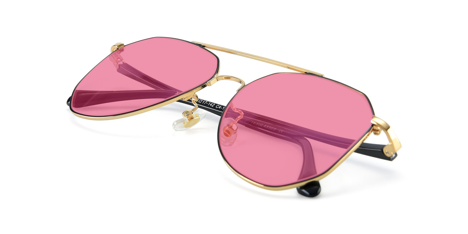 View of XC-8040 in Black/ Gold with Pink Tinted Lenses
