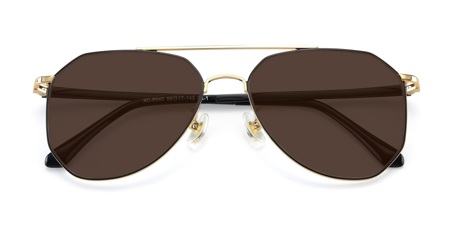Folded Front of XC-8040 in Black/ Gold with Brown Tinted Lenses