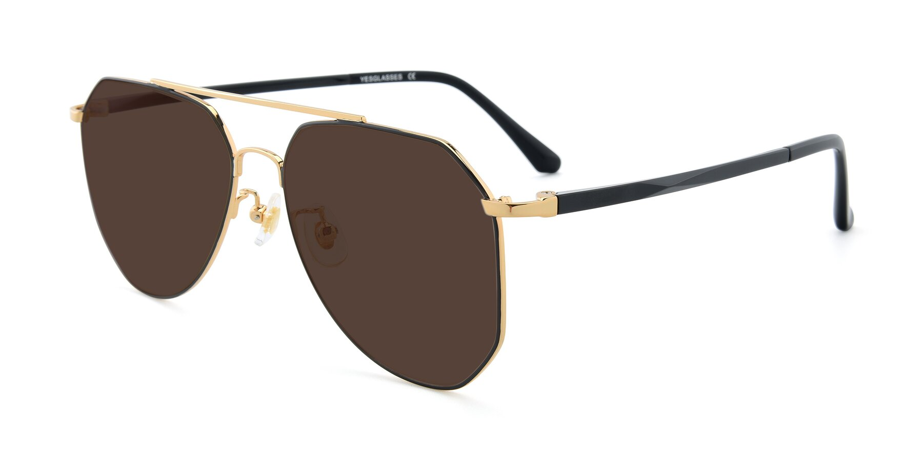 Angle of XC-8040 in Black/ Gold with Brown Tinted Lenses