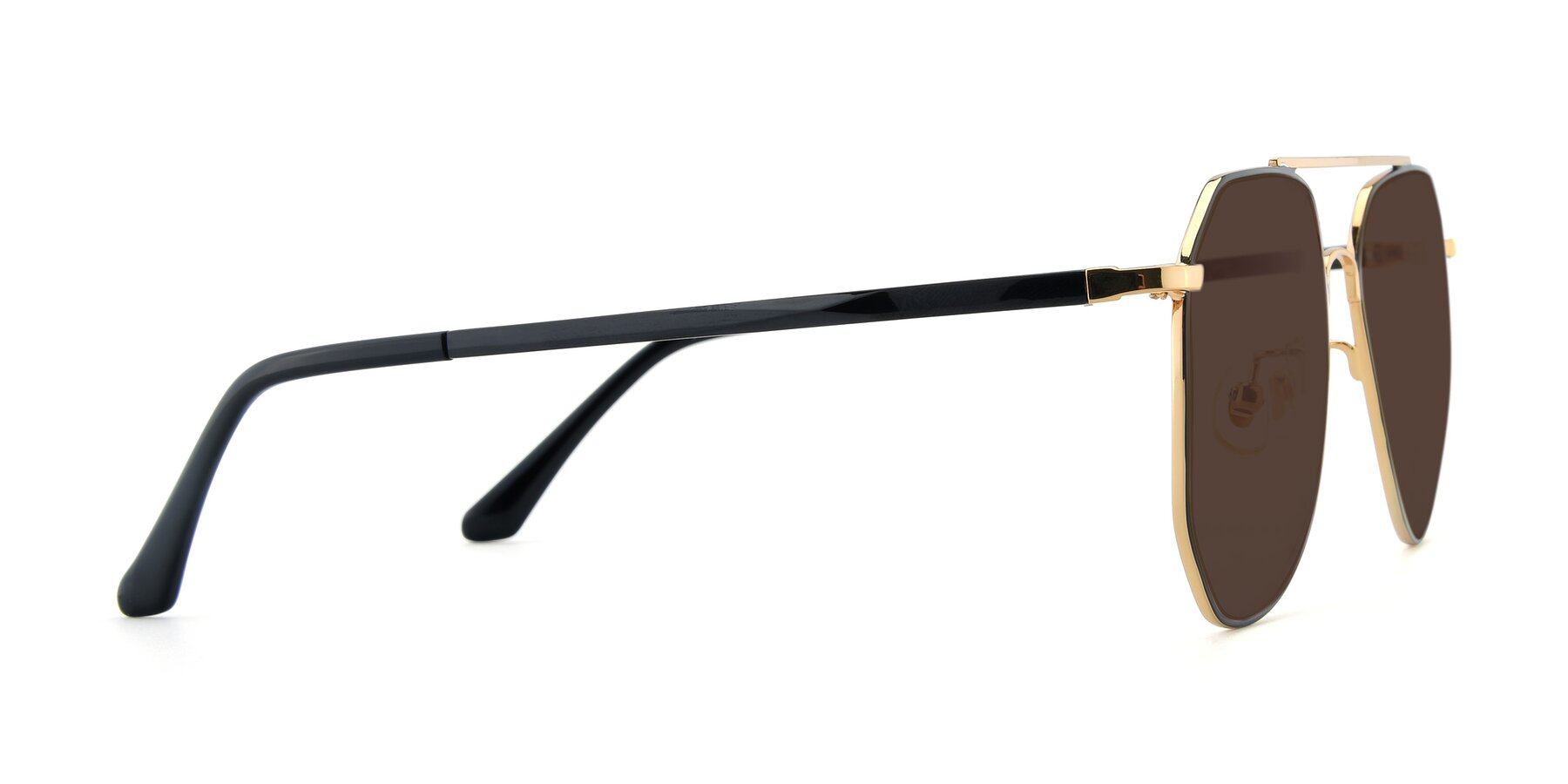 Side of XC-8040 in Black/ Gold with Brown Tinted Lenses