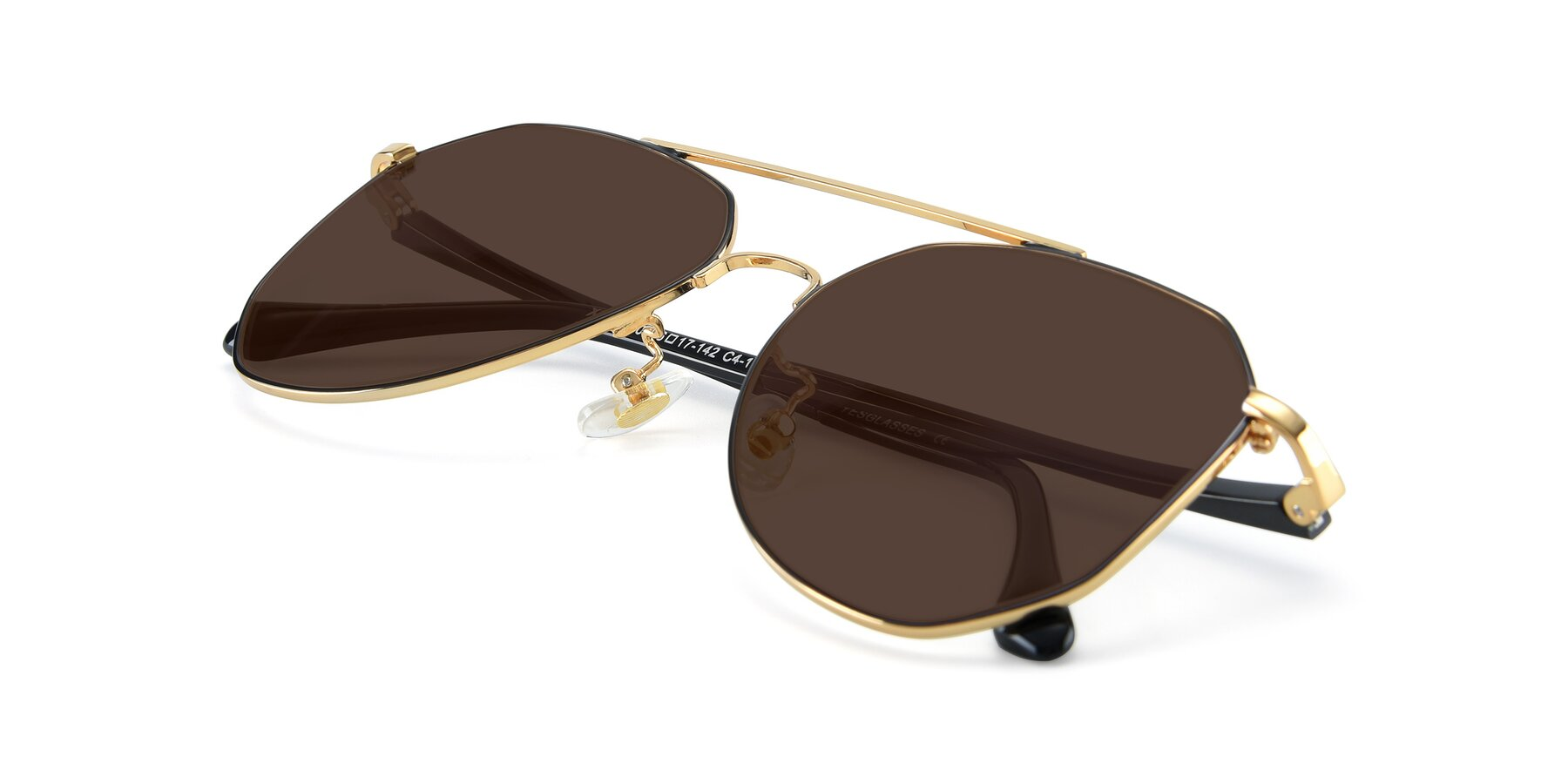 View of XC-8040 in Black/ Gold with Brown Tinted Lenses