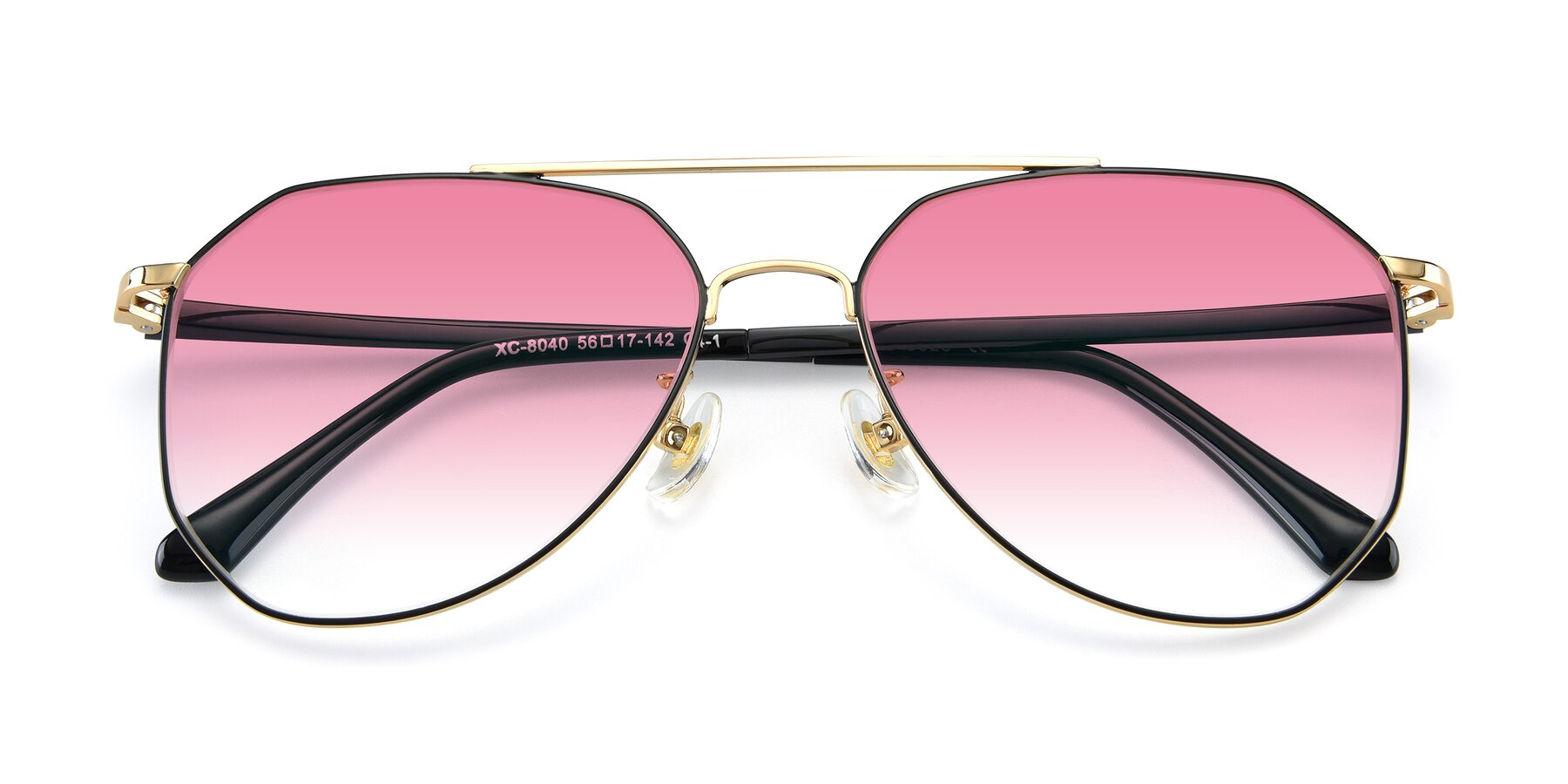 Folded Front of XC-8040 in Black/ Gold with Pink Gradient Lenses