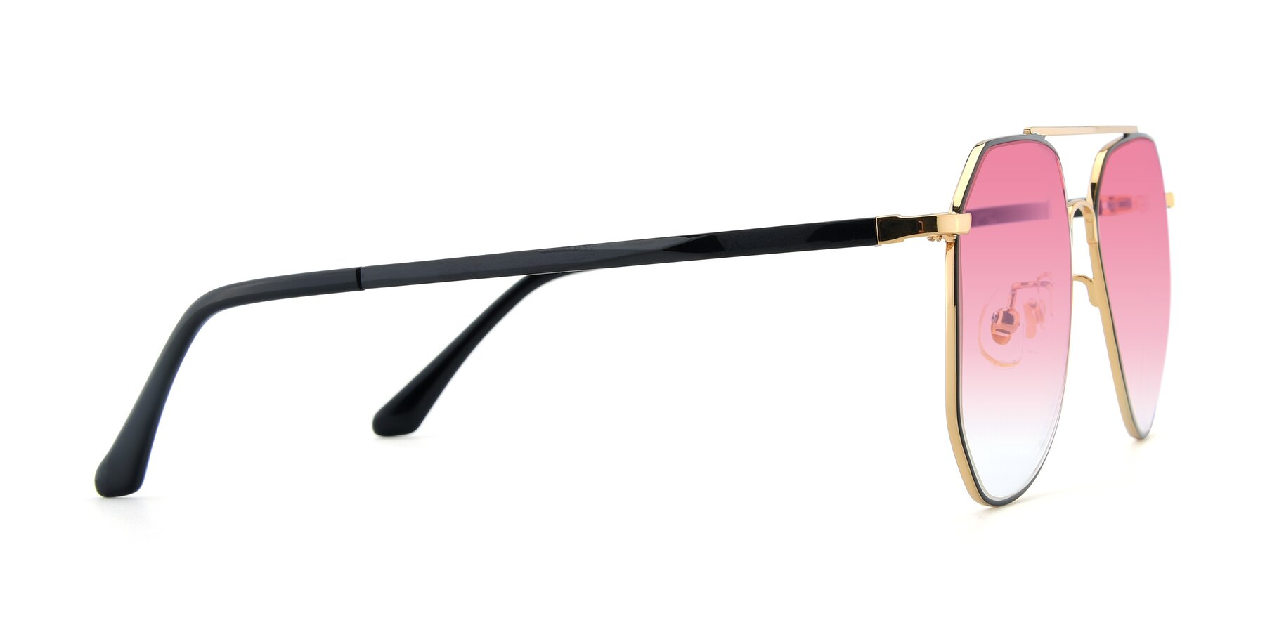 Side of XC-8040 in Black/ Gold with Pink Gradient Lenses
