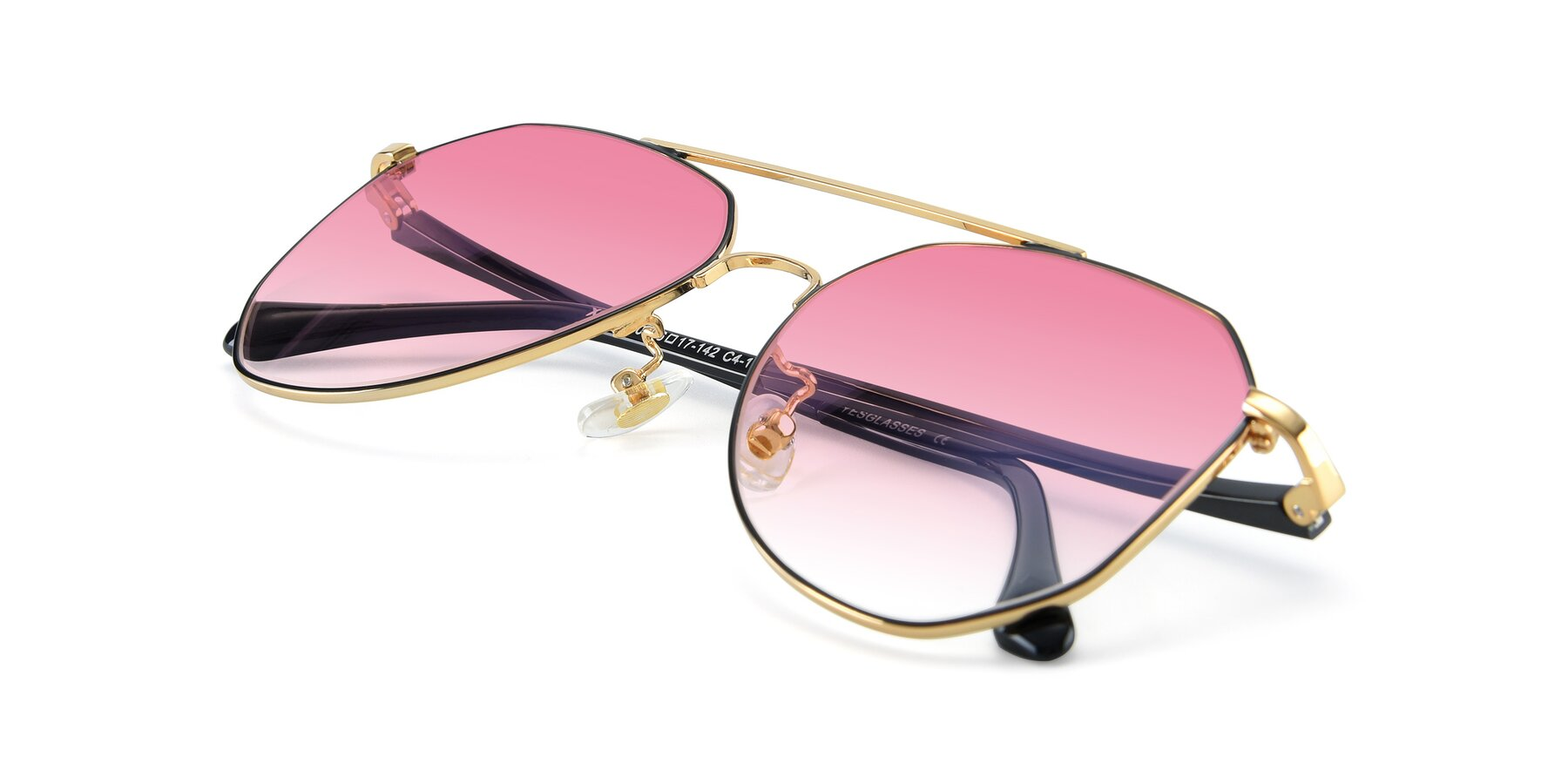 View of XC-8040 in Black/ Gold with Pink Gradient Lenses