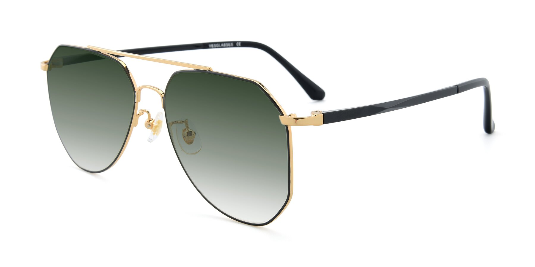 Angle of XC-8040 in Black/ Gold with Green Gradient Lenses