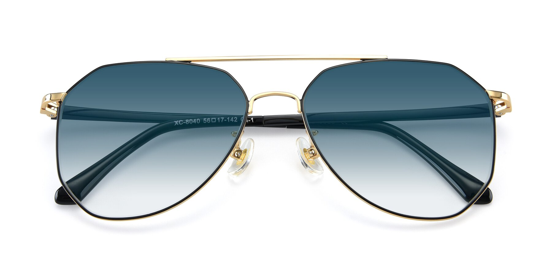 Folded Front of XC-8040 in Black/ Gold with Blue Gradient Lenses