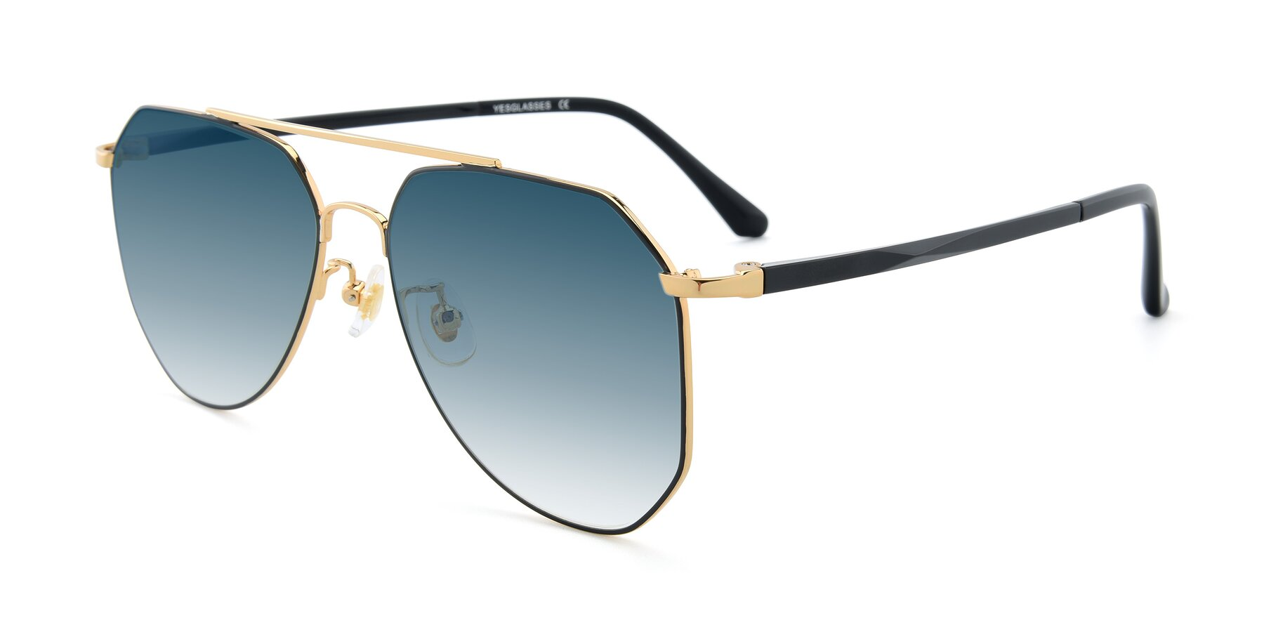 Angle of XC-8040 in Black/ Gold with Blue Gradient Lenses