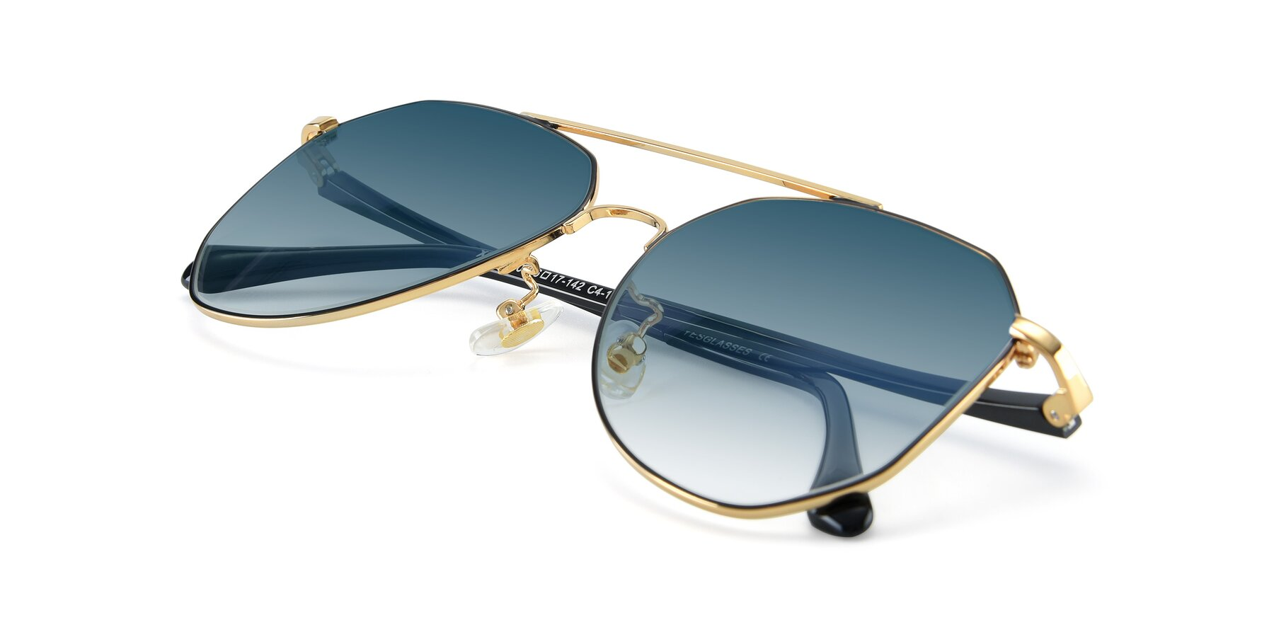 View of XC-8040 in Black/ Gold with Blue Gradient Lenses