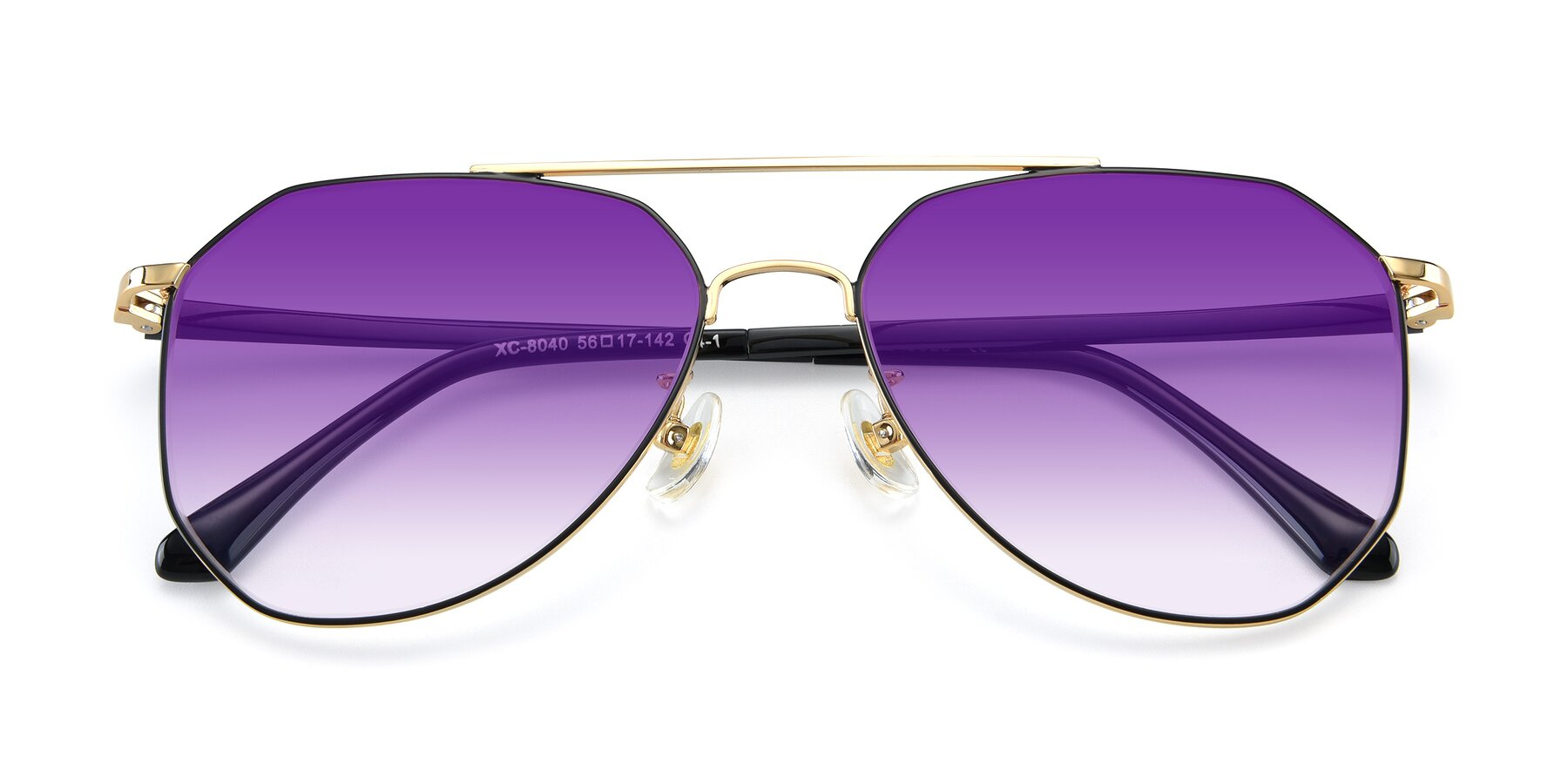 Folded Front of XC-8040 in Black/ Gold with Purple Gradient Lenses
