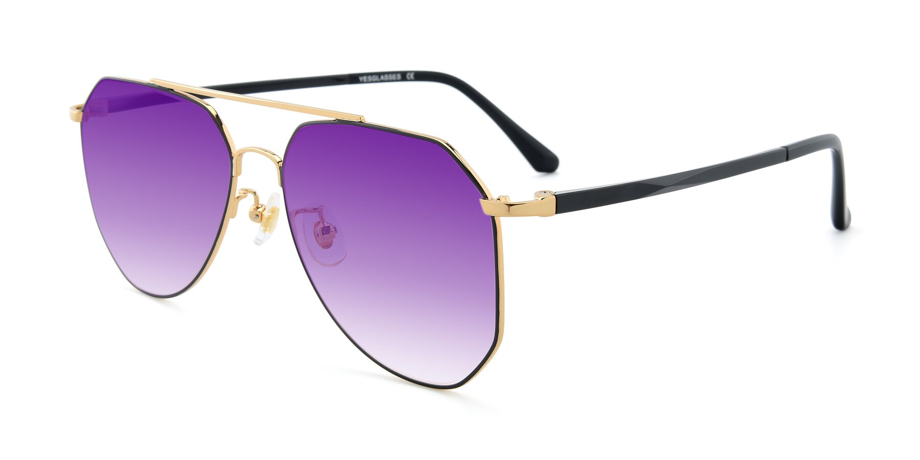 Angle of XC-8040 in Black/ Gold with Purple Gradient Lenses