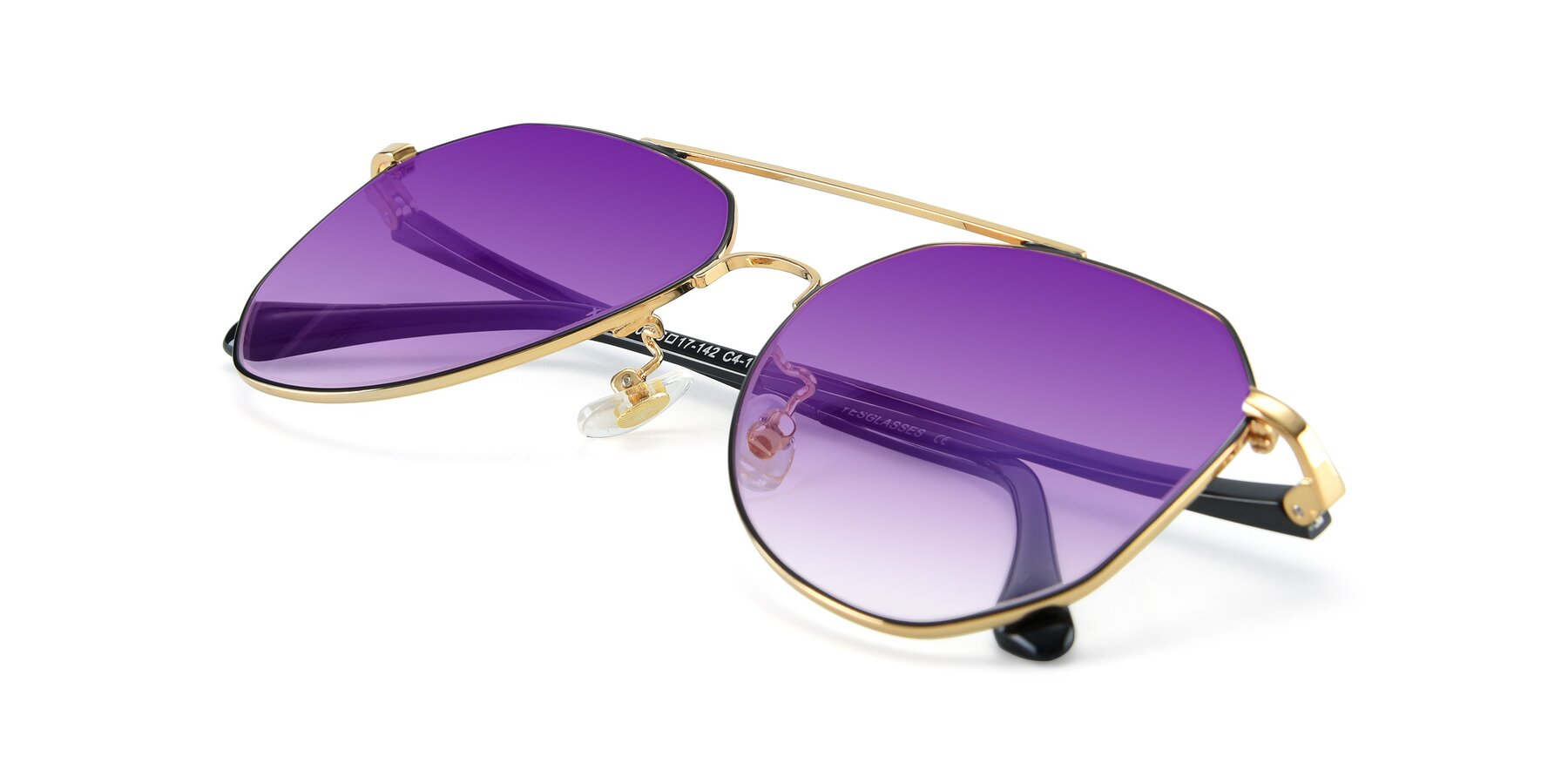 View of XC-8040 in Black/ Gold with Purple Gradient Lenses