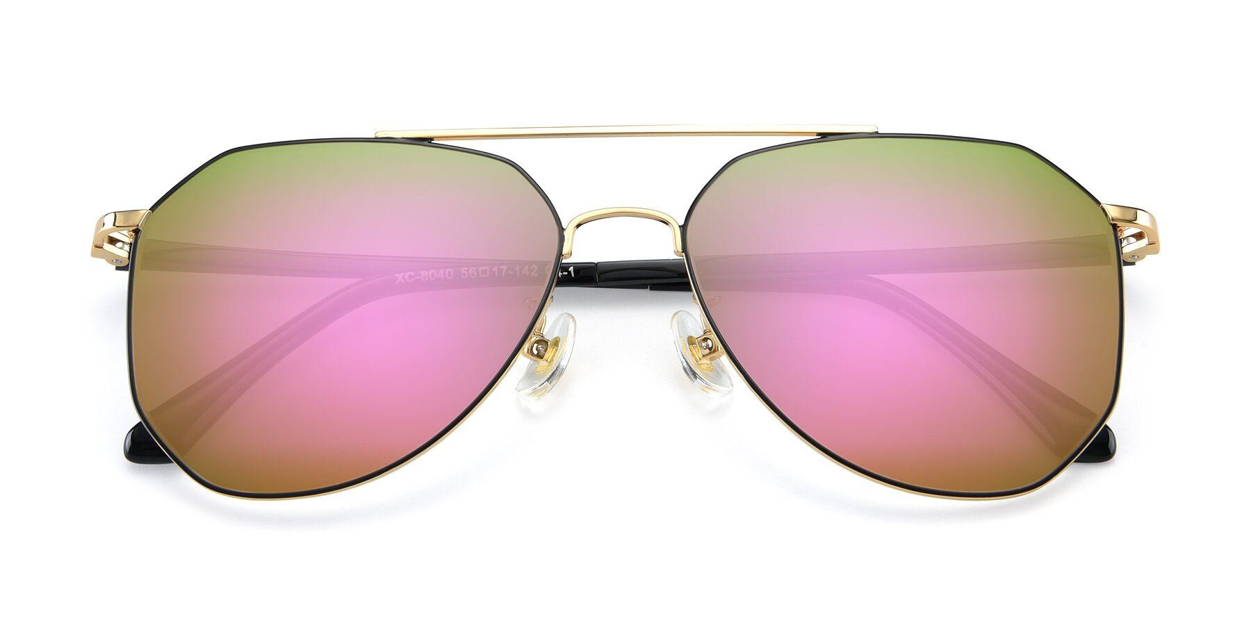 Folded Front of XC-8040 in Black/ Gold with Pink Mirrored Lenses