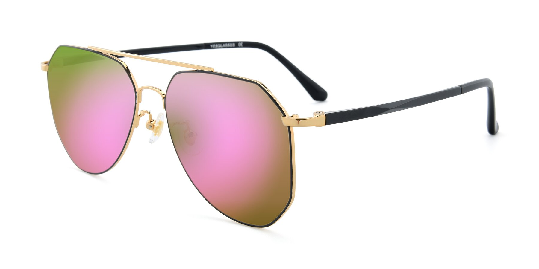 Angle of XC-8040 in Black/ Gold with Pink Mirrored Lenses
