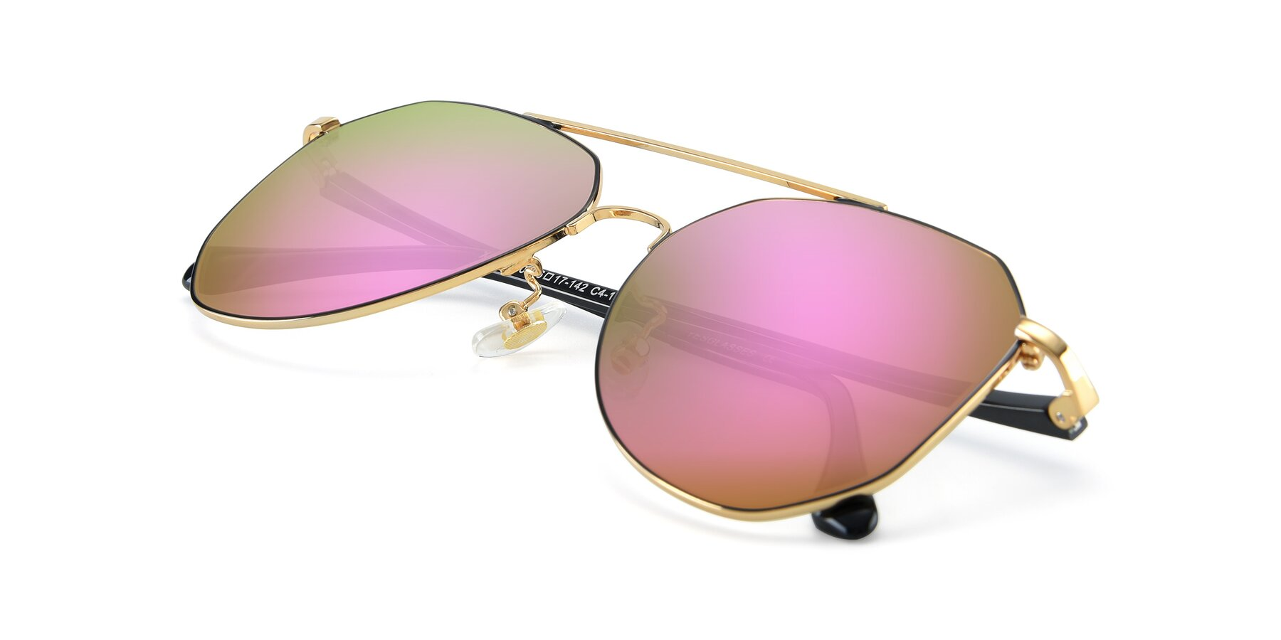 View of XC-8040 in Black/ Gold with Pink Mirrored Lenses