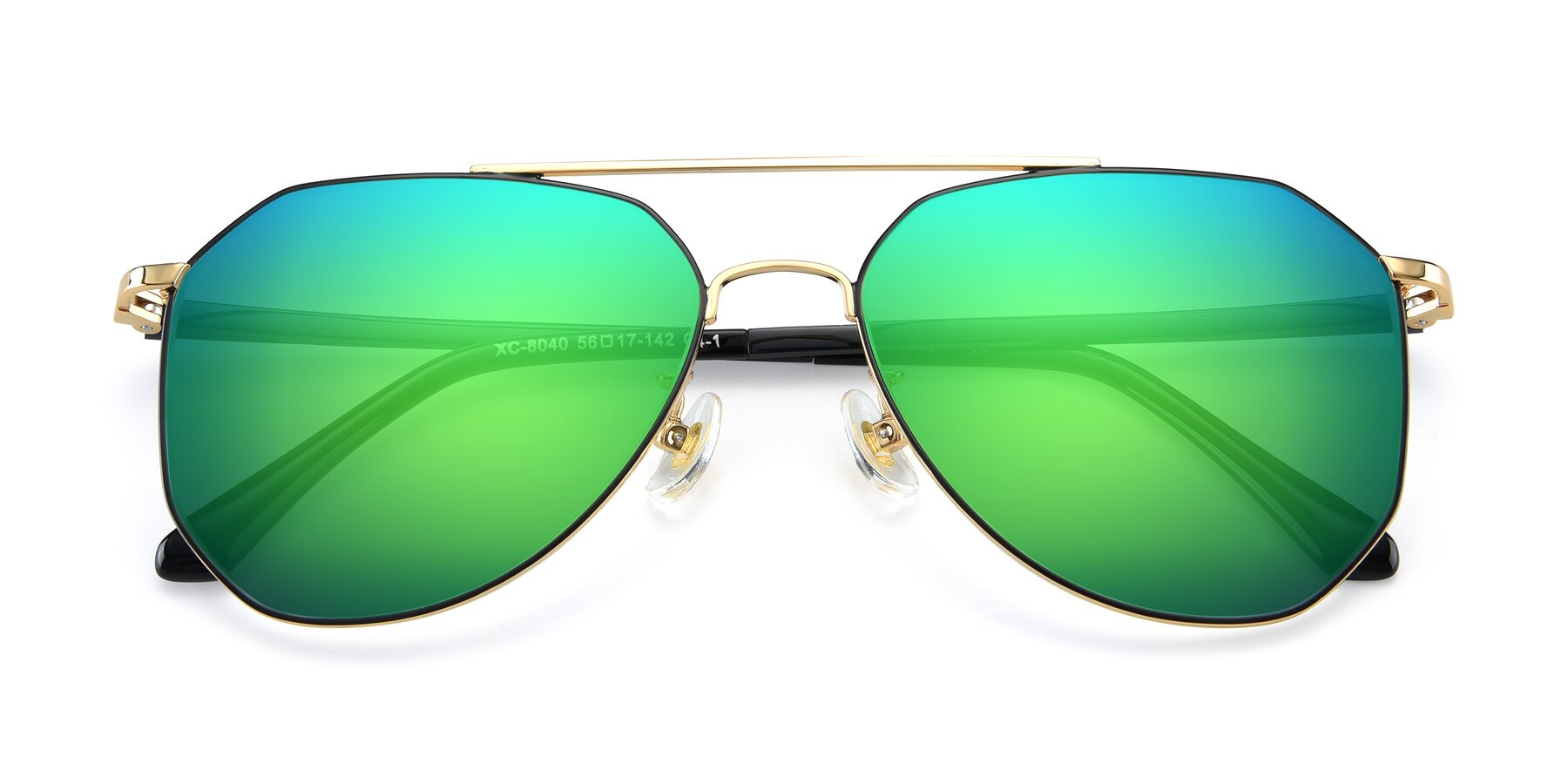 Folded Front of XC-8040 in Black/ Gold with Green Mirrored Lenses