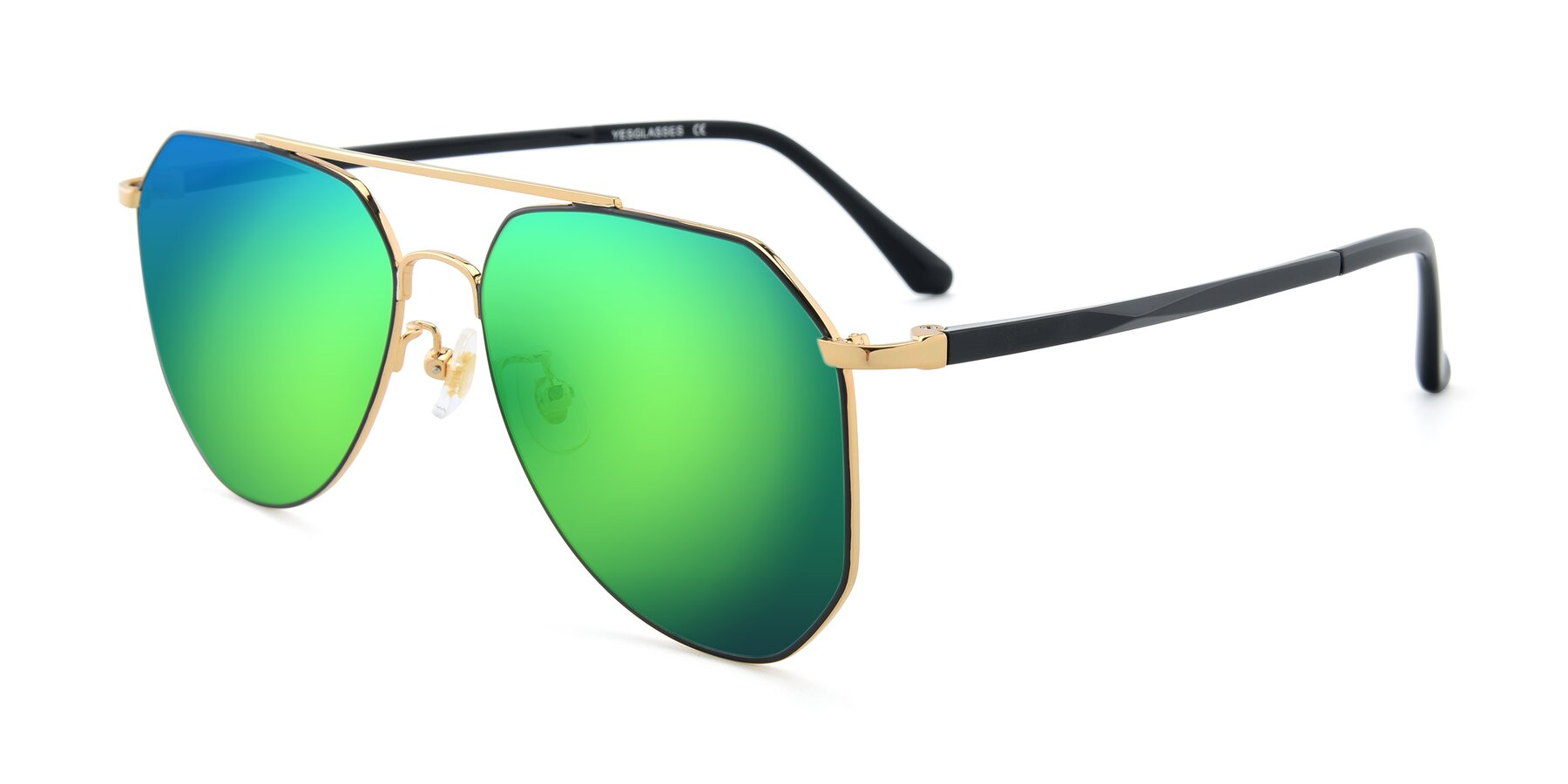 Angle of XC-8040 in Black/ Gold with Green Mirrored Lenses