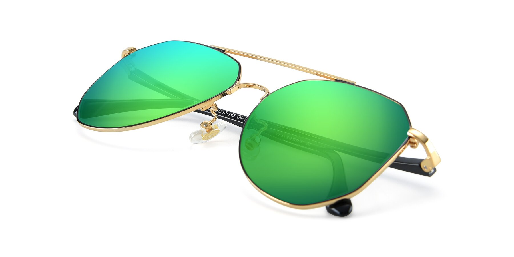 View of XC-8040 in Black/ Gold with Green Mirrored Lenses