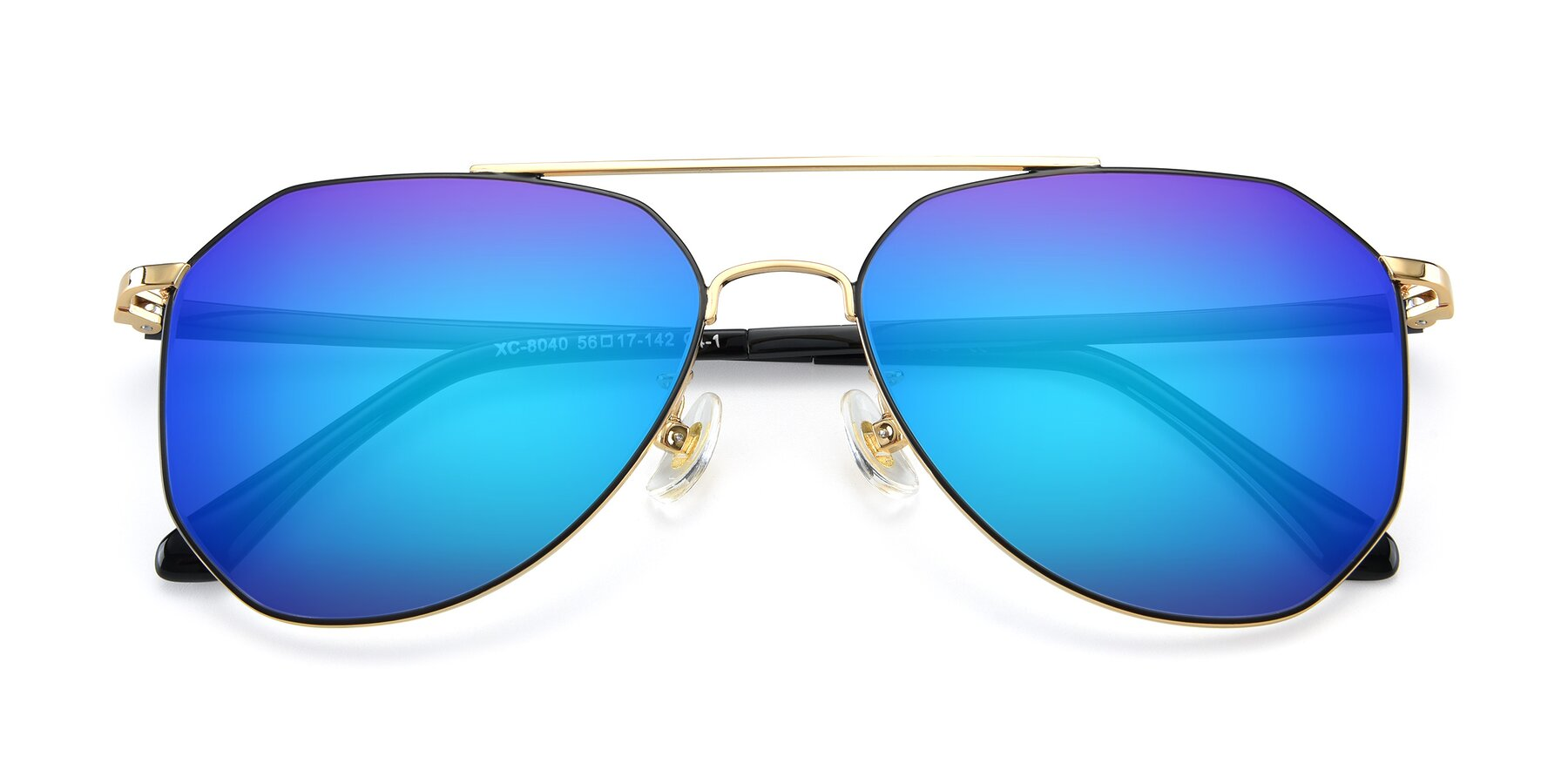 Folded Front of XC-8040 in Black/ Gold with Blue Mirrored Lenses