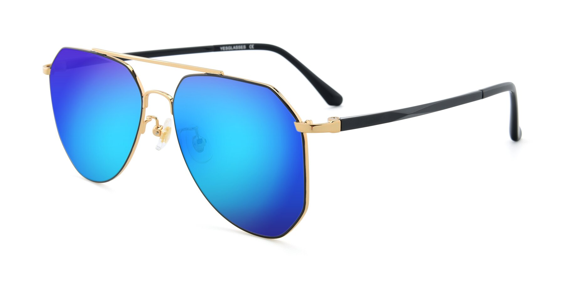 Angle of XC-8040 in Black/ Gold with Blue Mirrored Lenses