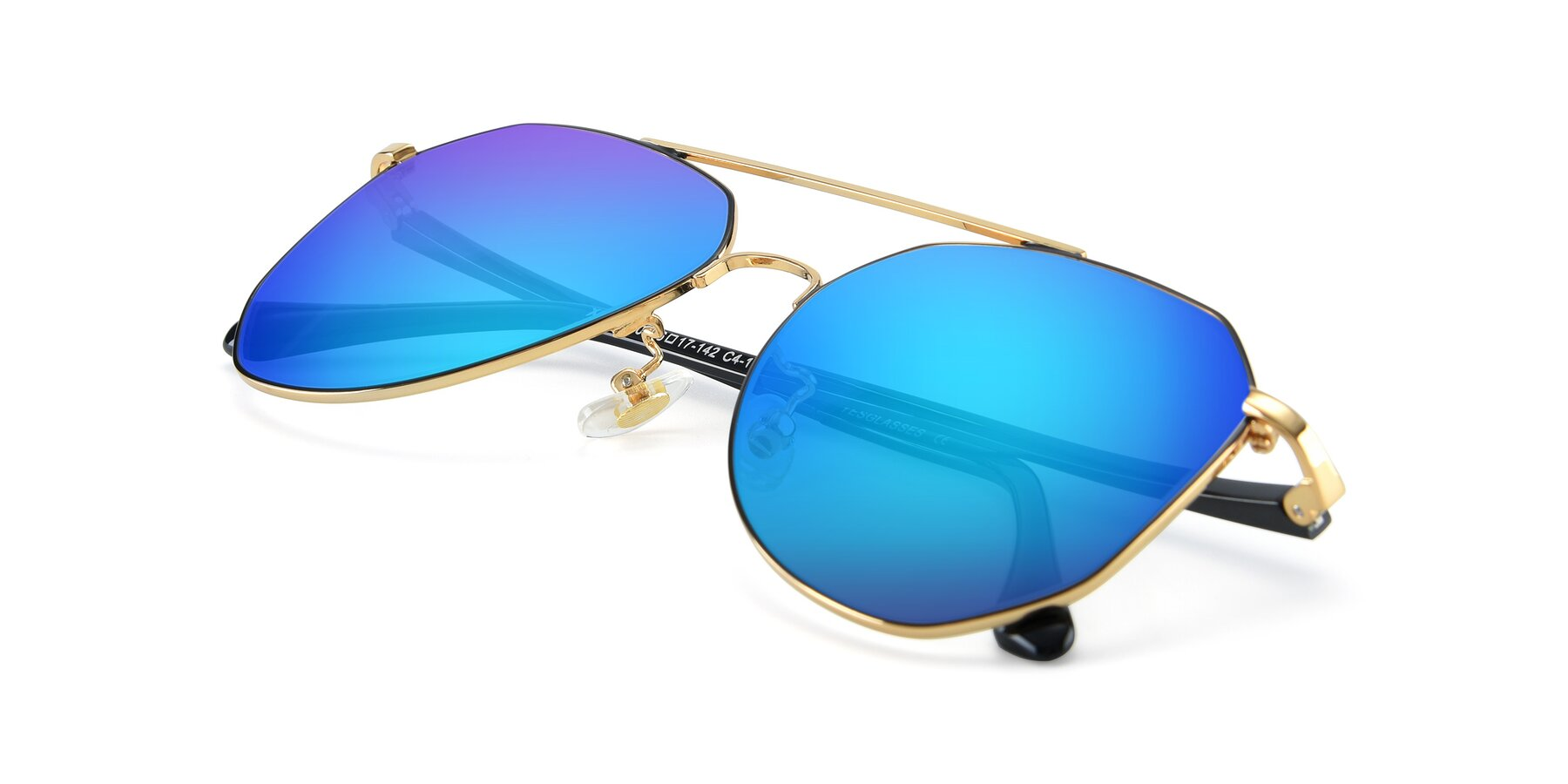 View of XC-8040 in Black/ Gold with Blue Mirrored Lenses