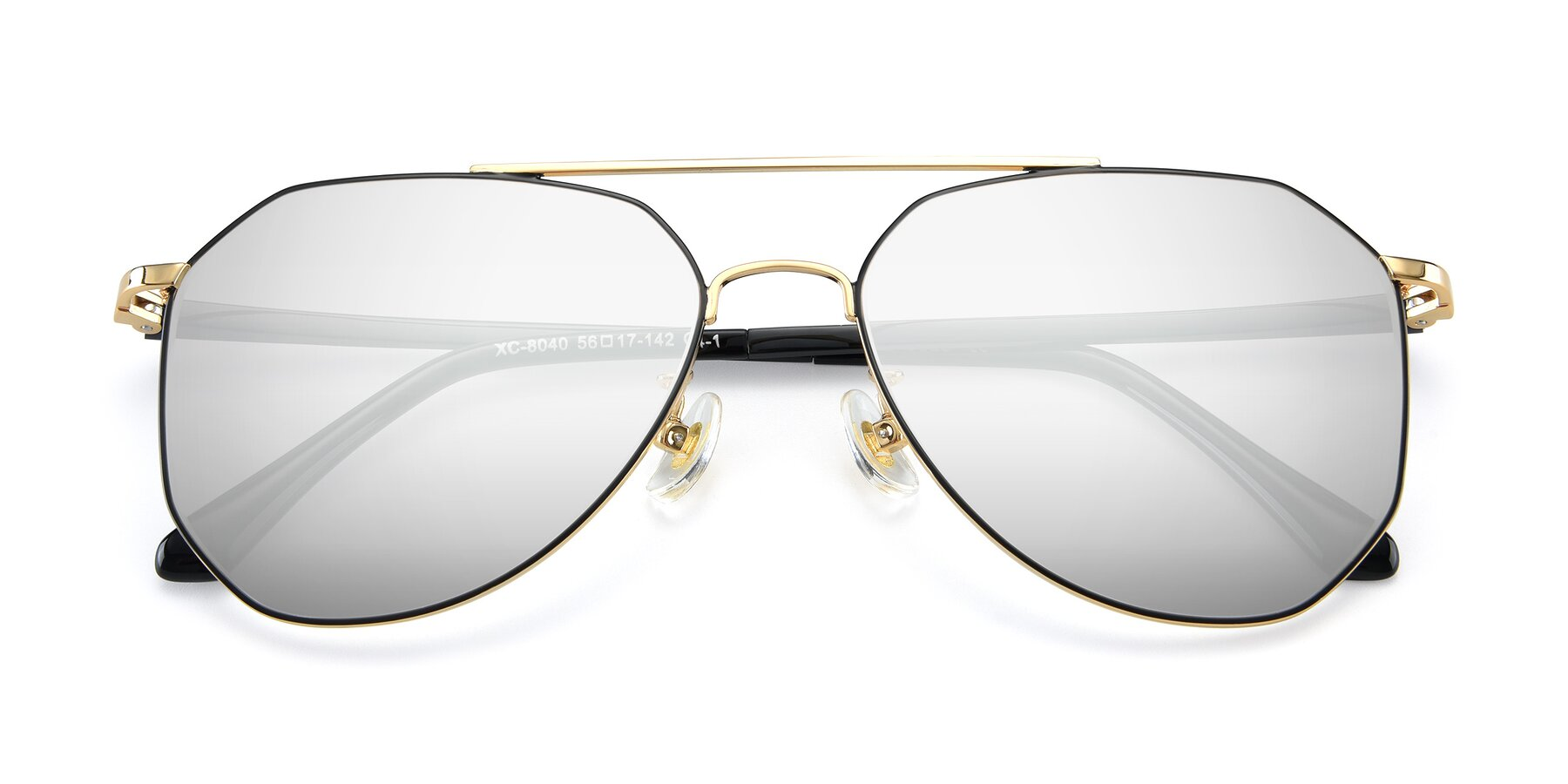 Folded Front of XC-8040 in Black/ Gold with Silver Mirrored Lenses
