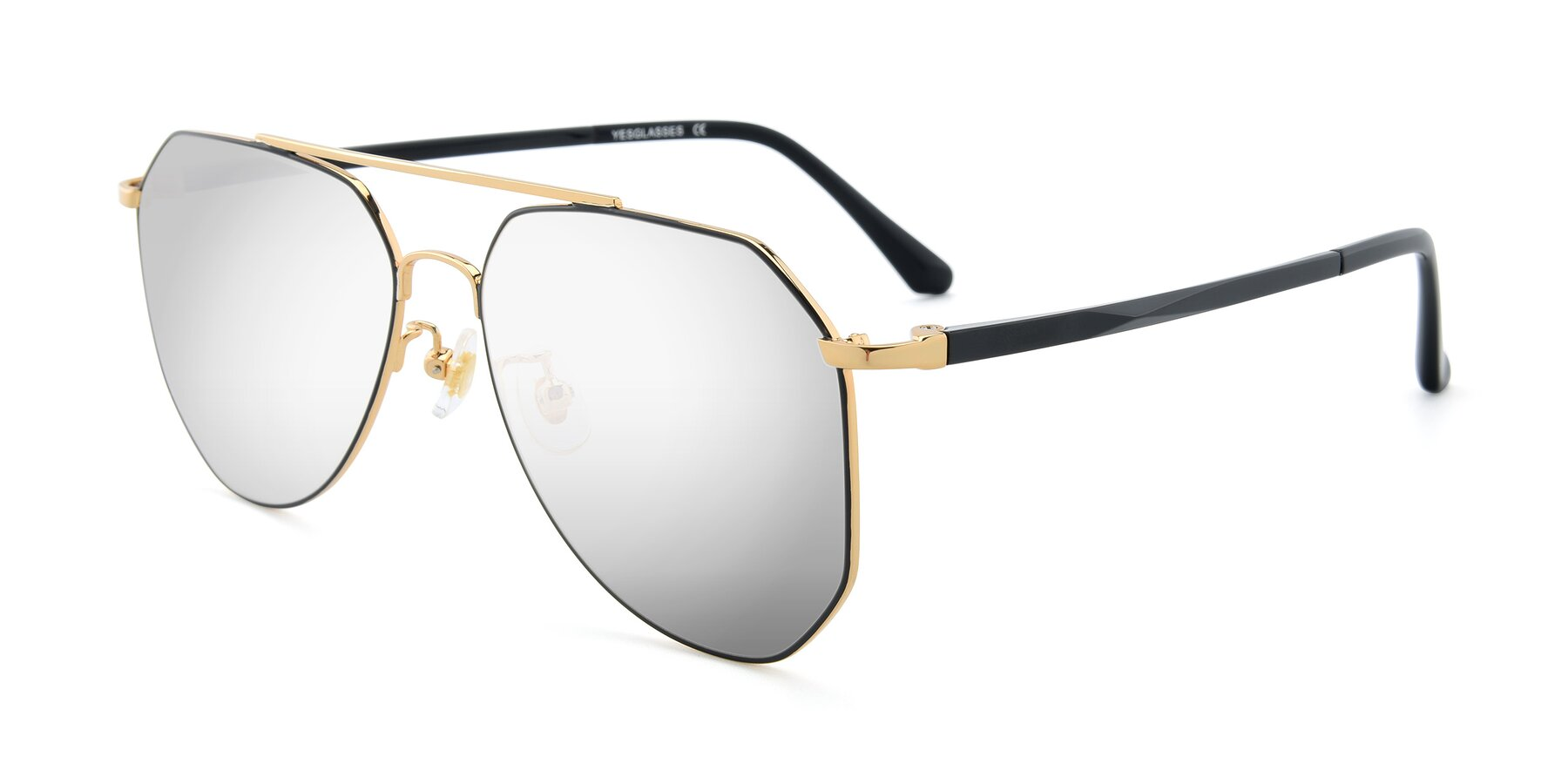 Angle of XC-8040 in Black/ Gold with Silver Mirrored Lenses
