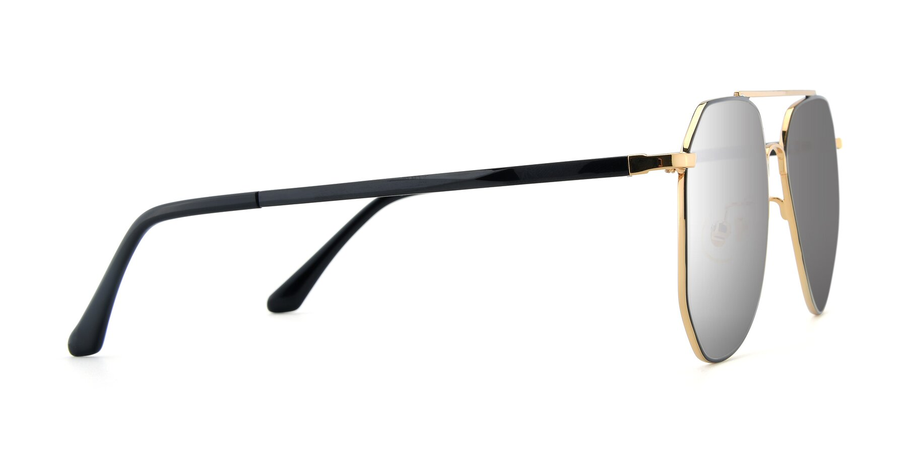 Side of XC-8040 in Black/ Gold with Silver Mirrored Lenses
