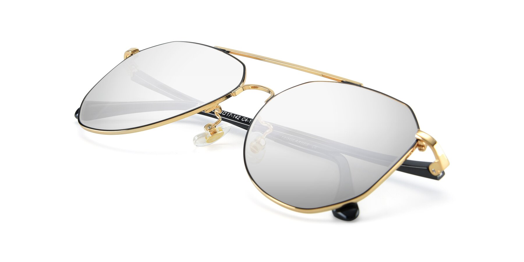 View of XC-8040 in Black/ Gold with Silver Mirrored Lenses