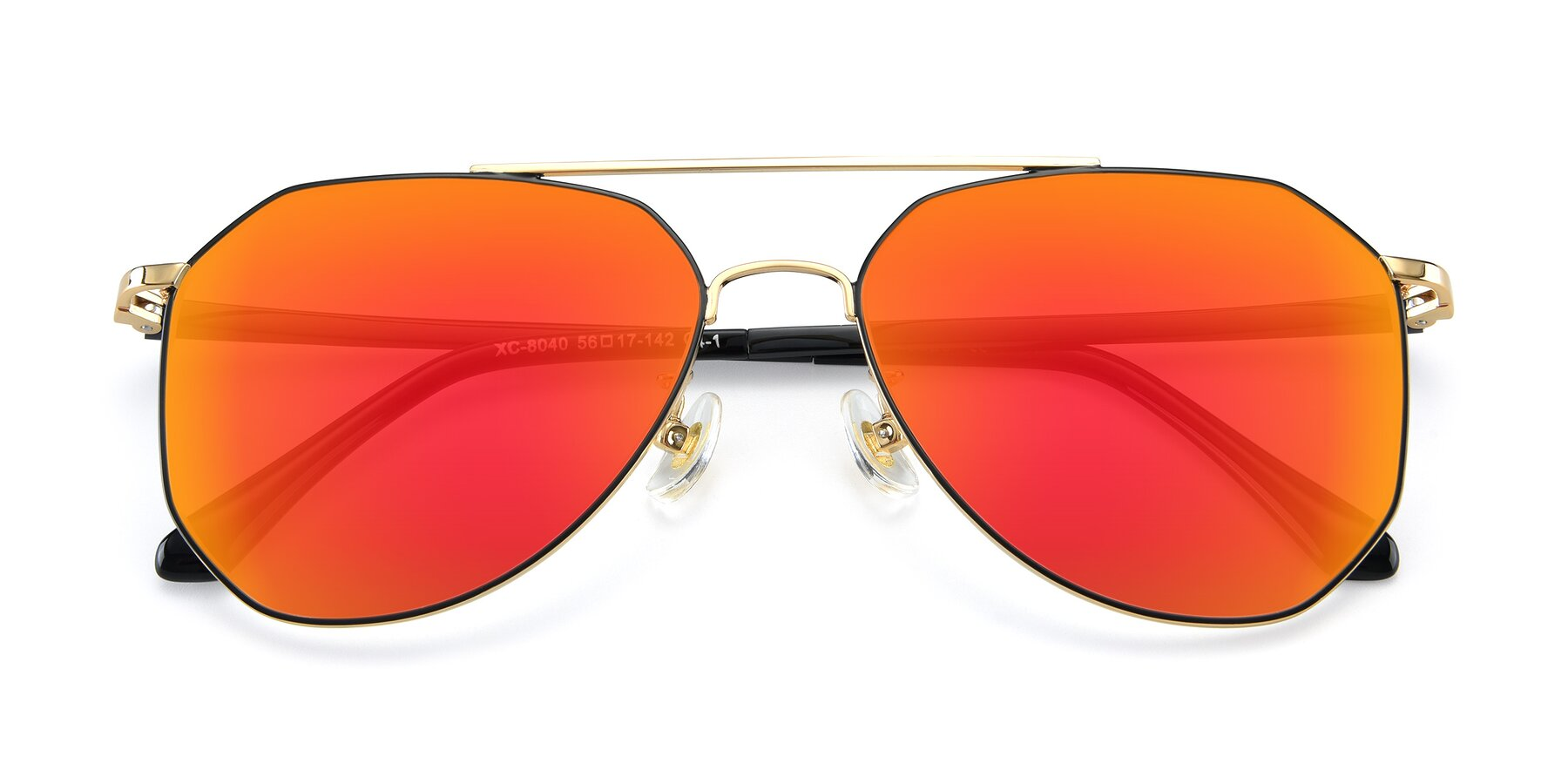 Folded Front of XC-8040 in Black/ Gold with Red Gold Mirrored Lenses