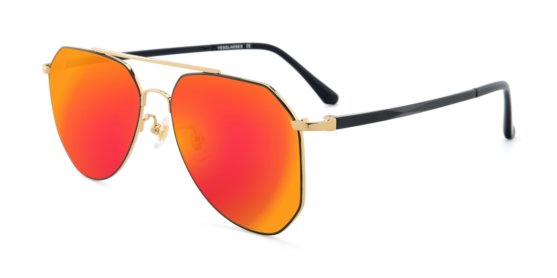 Angle of XC-8040 in Black/ Gold with Red Gold Mirrored Lenses