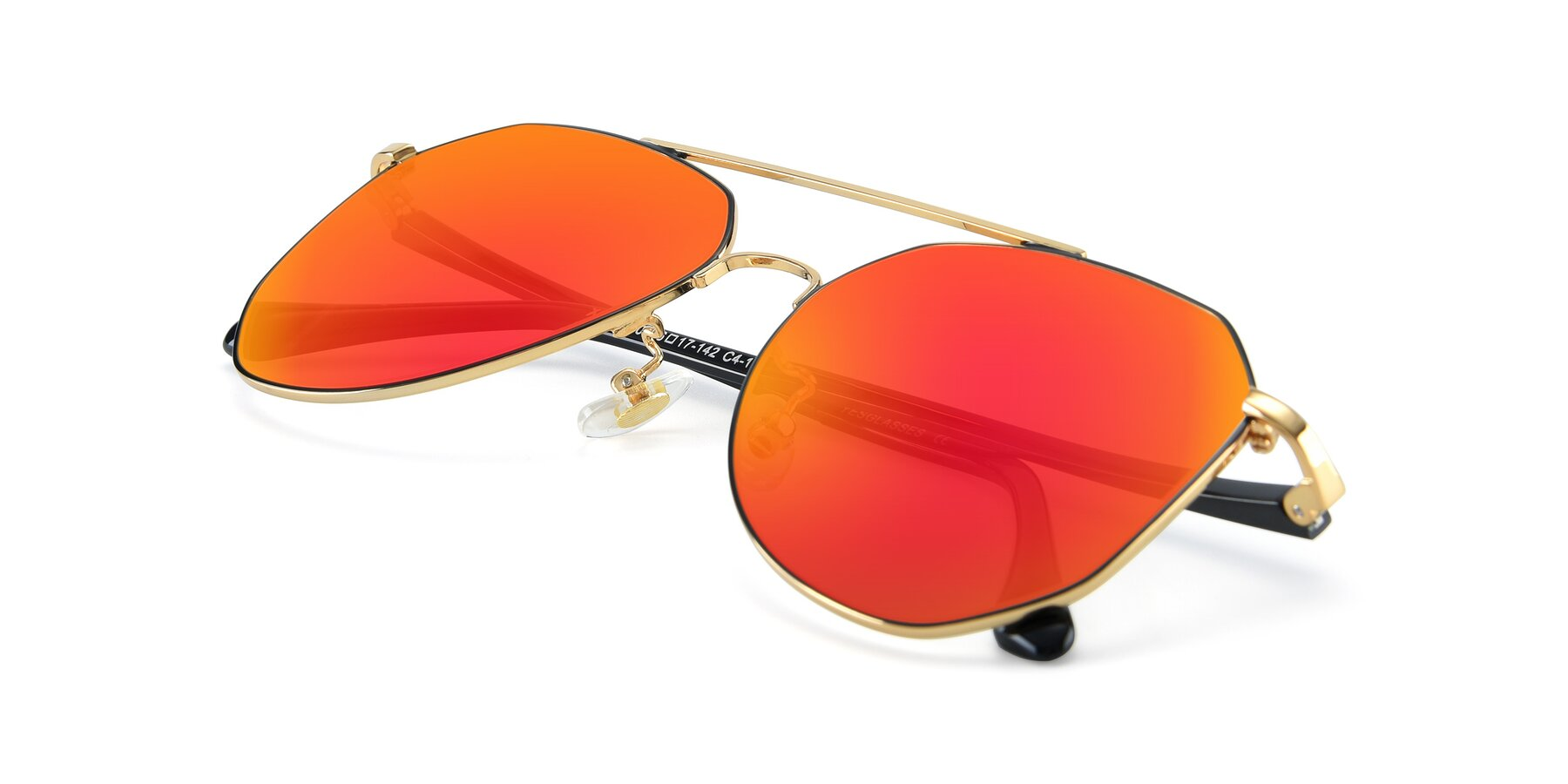 View of XC-8040 in Black/ Gold with Red Gold Mirrored Lenses