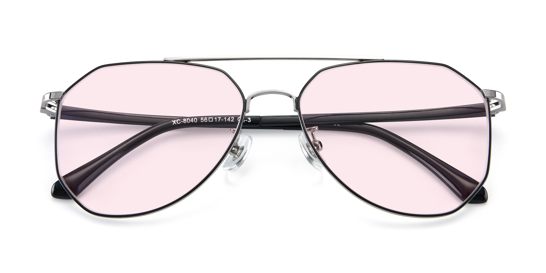 Folded Front of XC-8040 in Black/ Gun with Light Pink Tinted Lenses