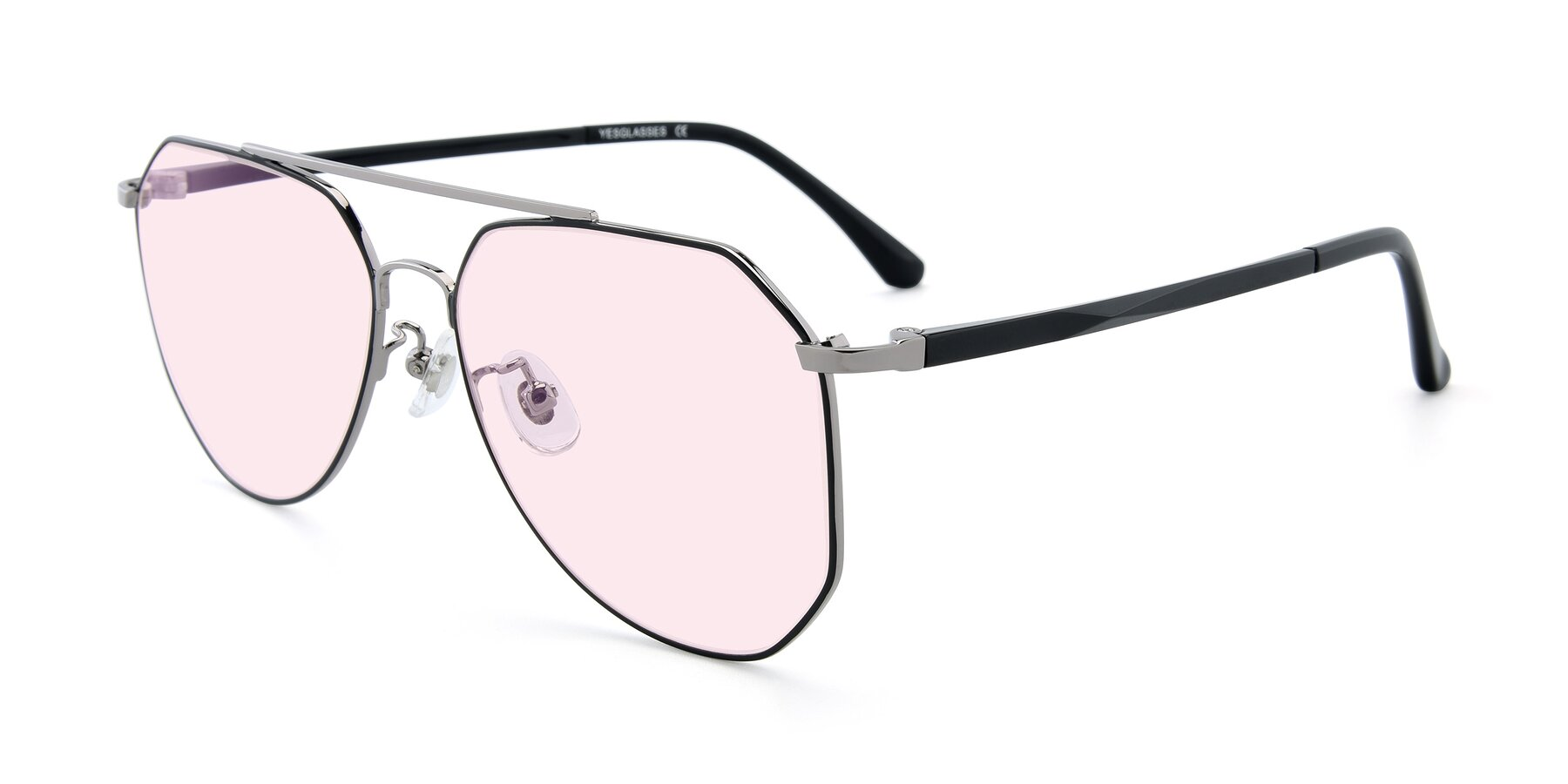 Angle of XC-8040 in Black/ Gun with Light Pink Tinted Lenses