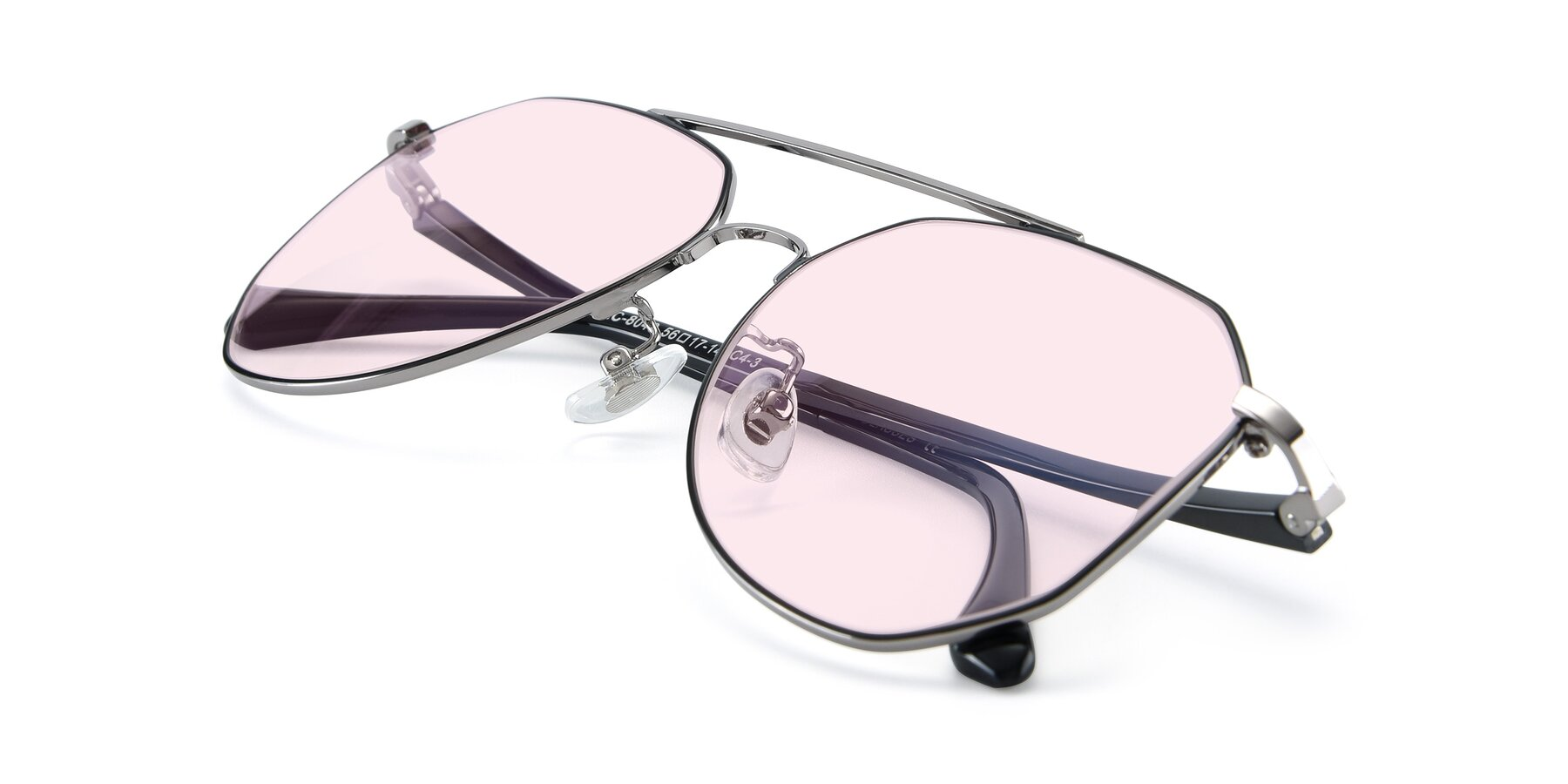 View of XC-8040 in Black/ Gun with Light Pink Tinted Lenses